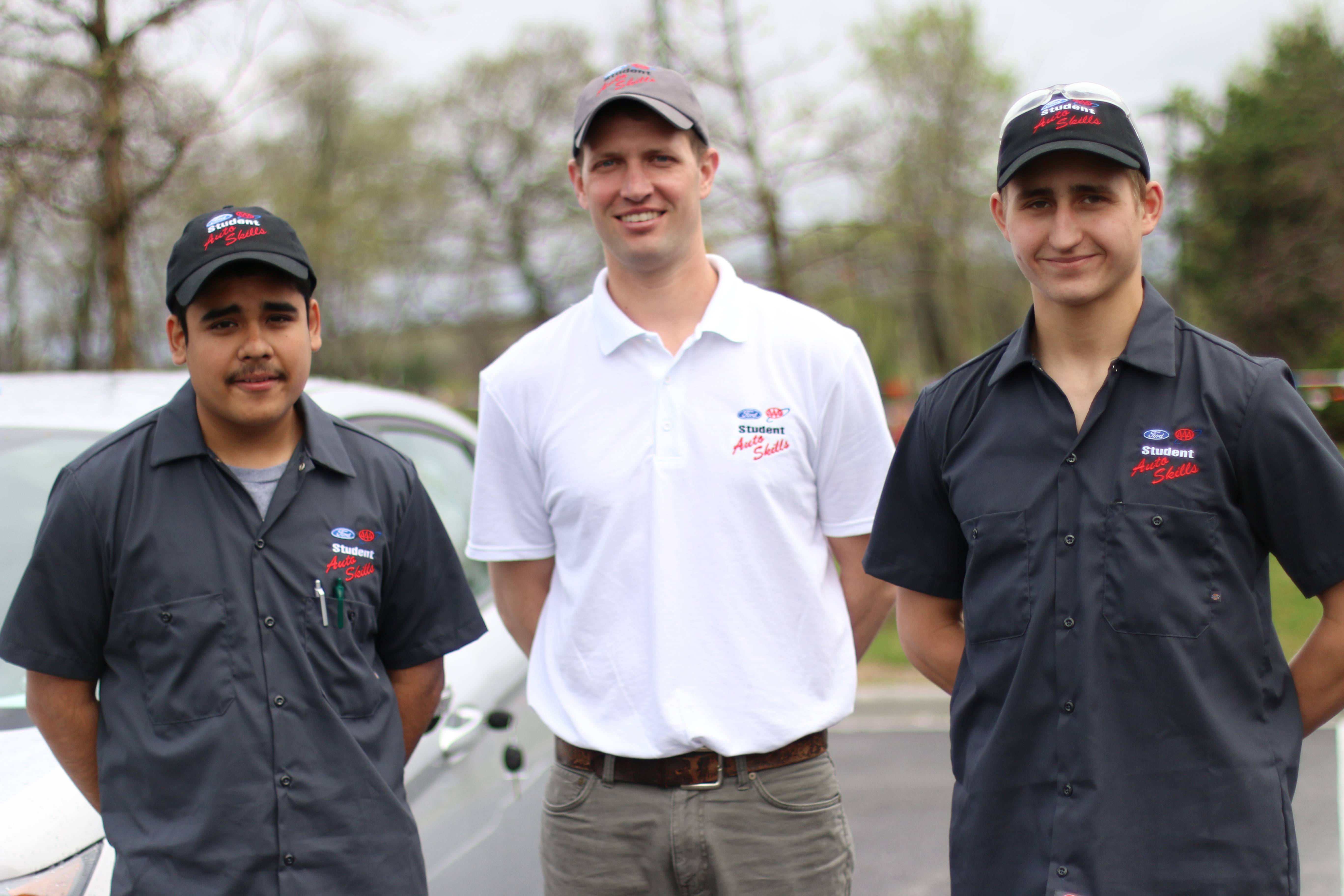 Christian Ramirez and Edward Pszczolkowski, led by instructor Dave Ligman, were the runner ups at the statewide competition held at UTI's Lisle campus on May 9. AAA Chicago