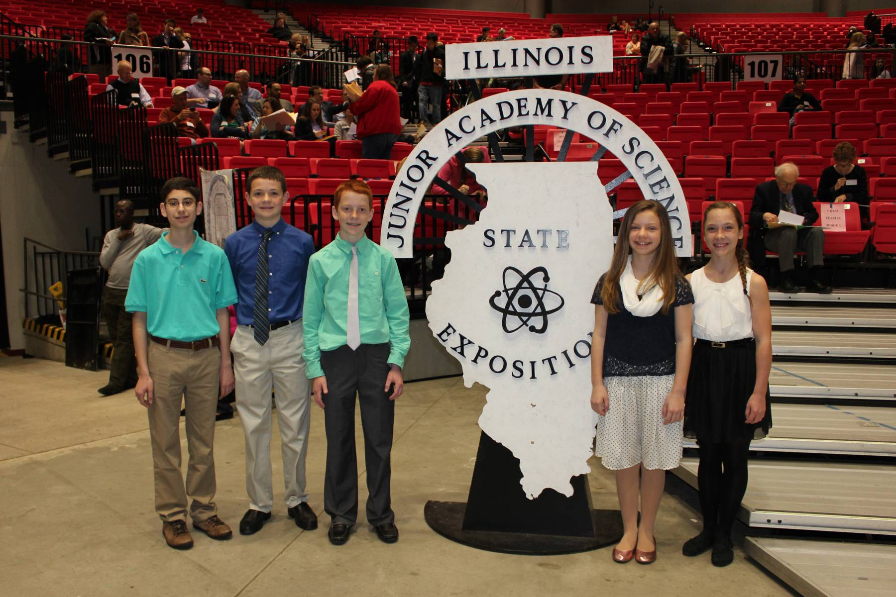 Saint Mary Students win Gold & Silver L-R George Yacu (Wheeling), Luke Wenzel (Buffalo Grove), Sean Seidl (Buffalo Grove), Ally Schwabe(Arlington Heights), Melanie Zimmerman(Vernon Hills), Lisa Schwabe, Saint Mary Public Relations
