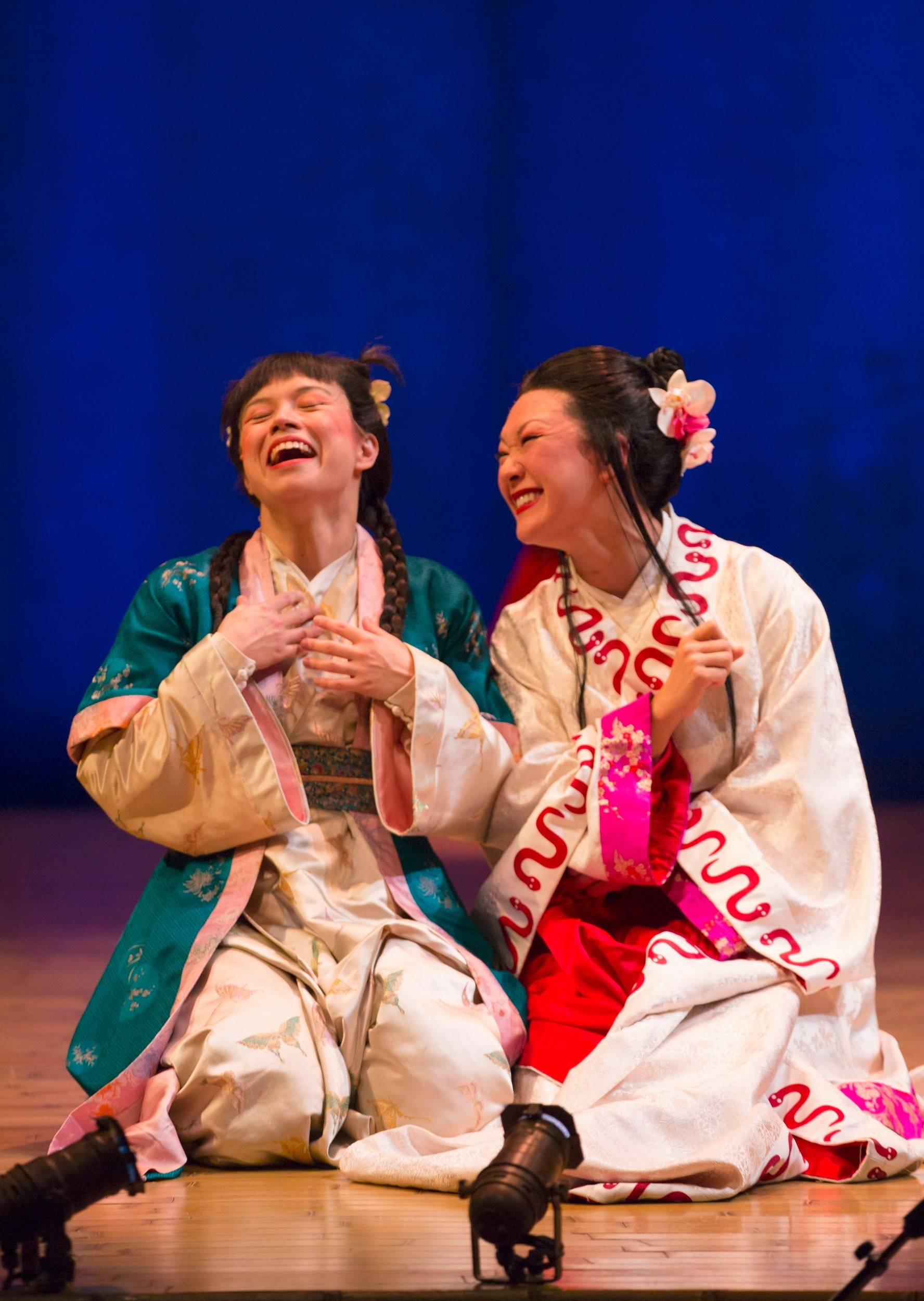 "Tanya Thai McBride stars as Green Snake and Amy Kim Waschke as White Snake in director Mary Zimmerman's production of the ancient Chinese tale ""The White Snake"" at Goodman Theatre in Chicago."