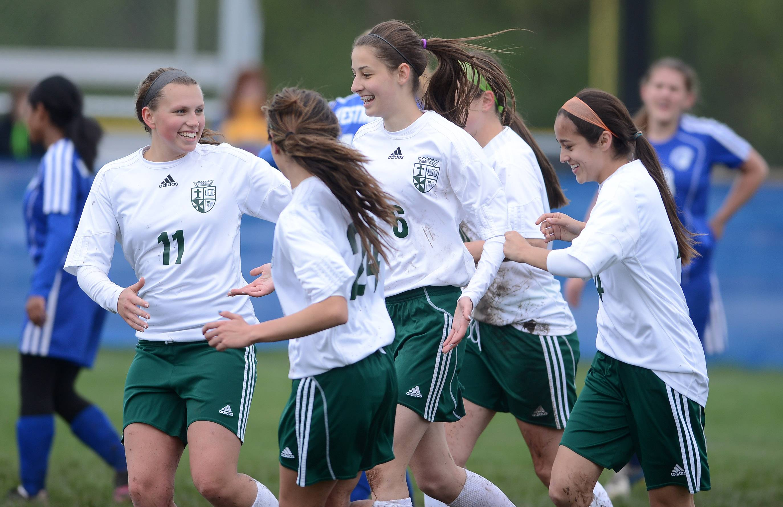 Teammates congratulate St. Edward's Chelsea Gnan (6) after a first-half goal during Friday's regional final in Elgin.