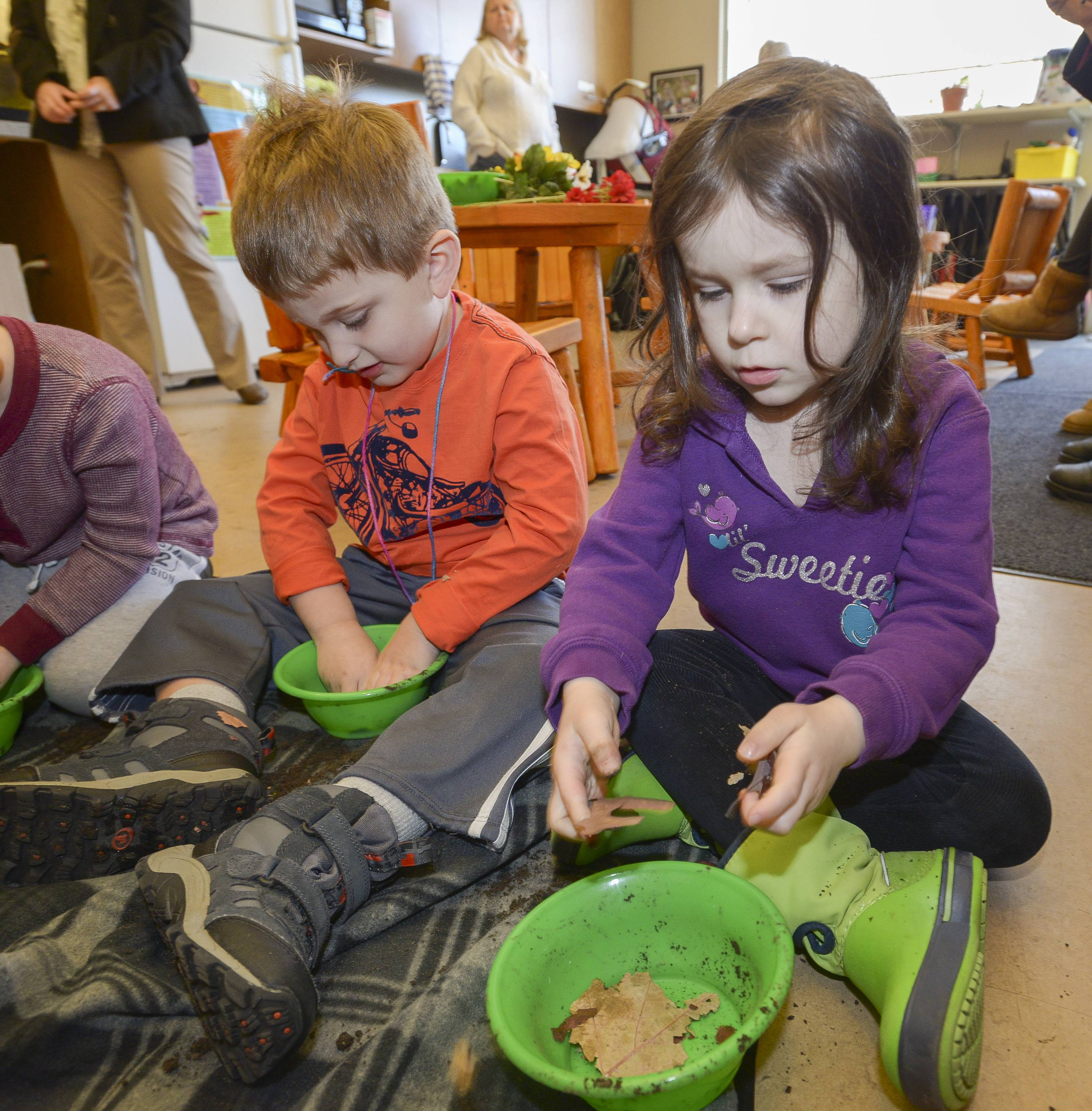 "Nicholas Pencyla, 4 of Oak Brook and Josie Slupski, 3 of Schaumburg make their own bowls of soil during the Morton Arboretum's ""Mudpies and Stone Soup"" class by adding leaves, sticks stones and water. (Josie is the daughter of the story's author.)"