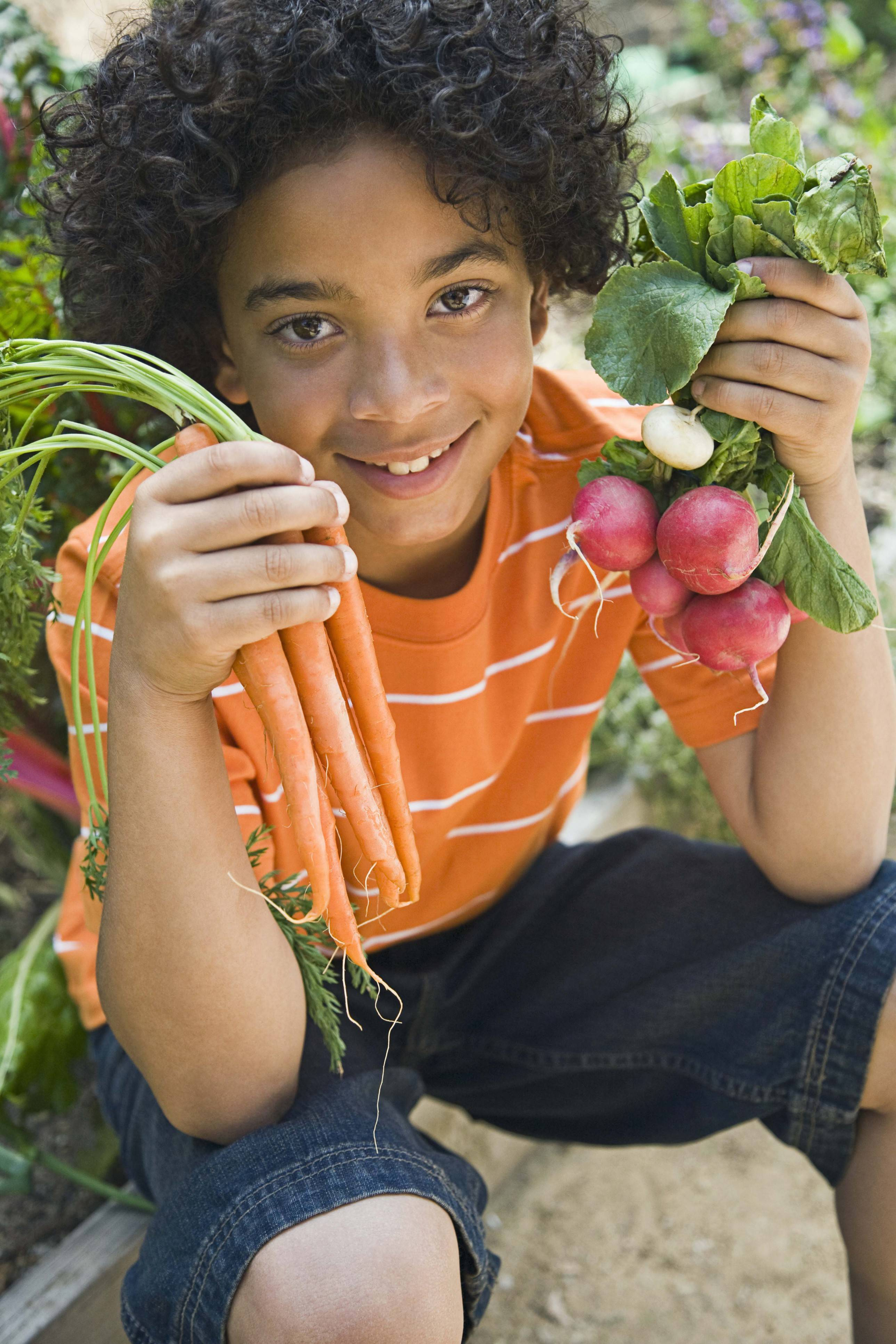BEST BET: Root crops that allow children to dig for treasure at harvest time -- potatoes, carrots, beets and radishes.