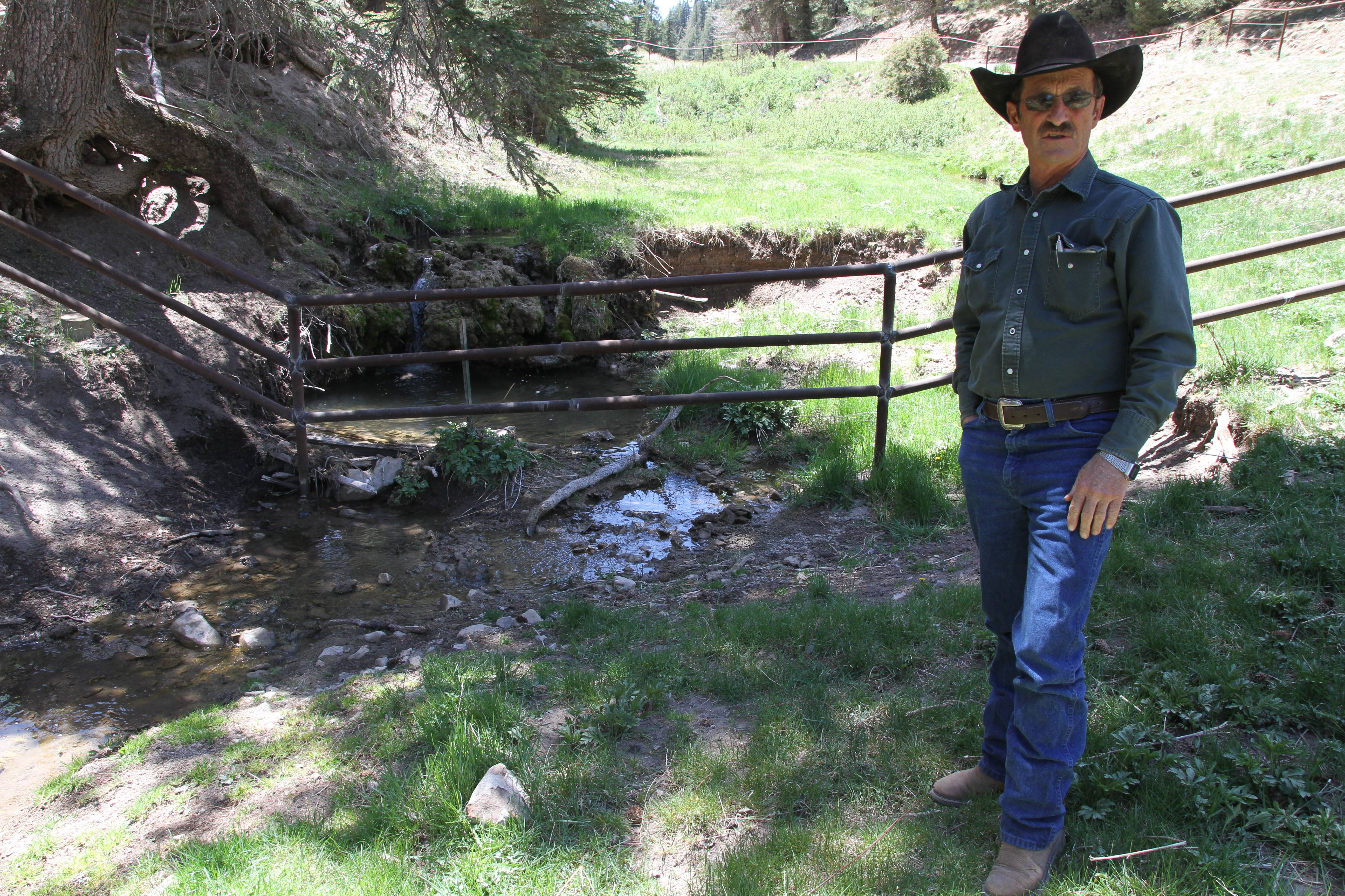 Otero cattle rancher association president Gary Stone talks Thursday near a fence at Weed, New Mexico, The Otero County Cattleman's Association is pitted against the National Forest Service over the fence intended to protect wildlife.