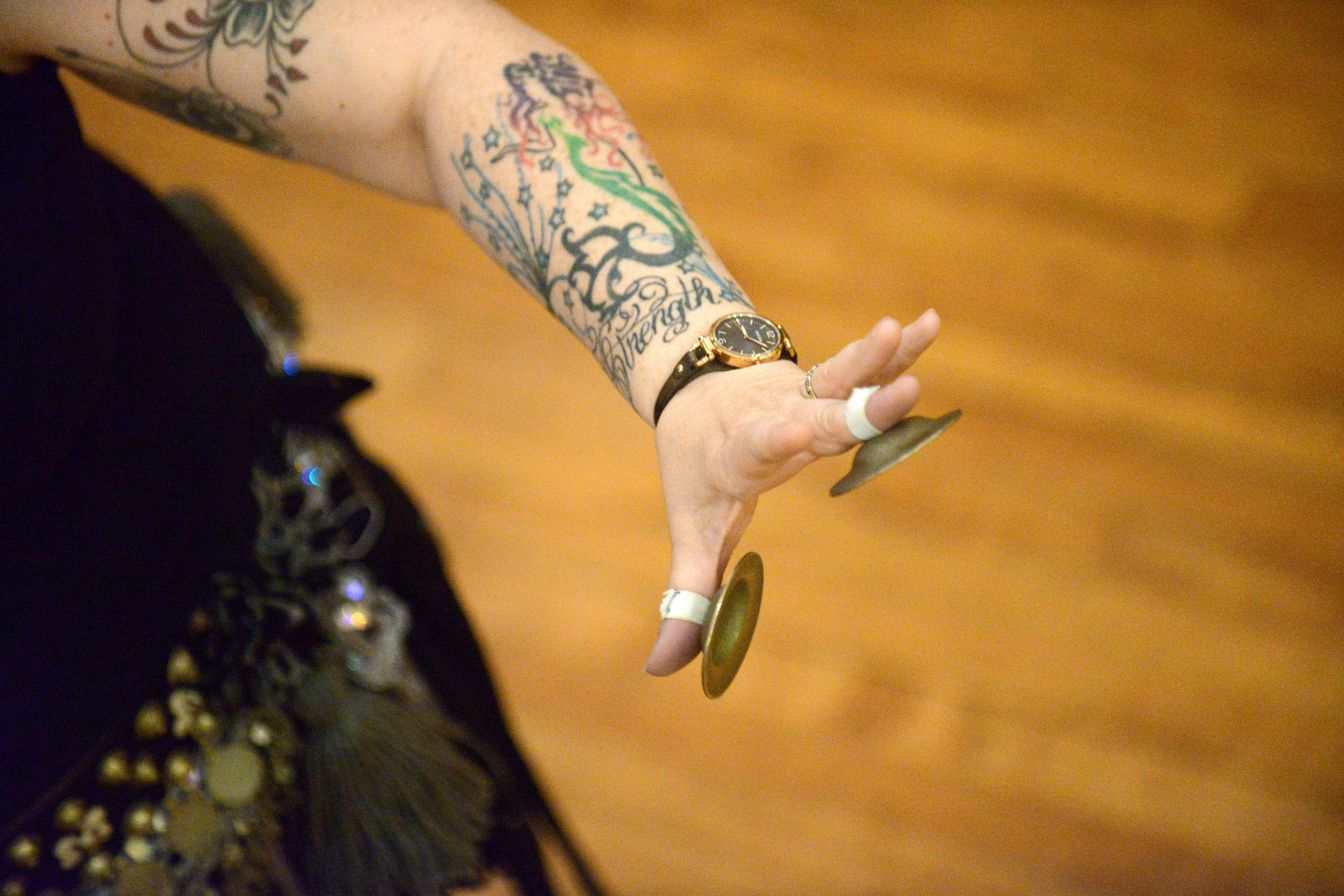 Zills, small metallic cymbals attached to the fingers, are used frequently in belly dance.
