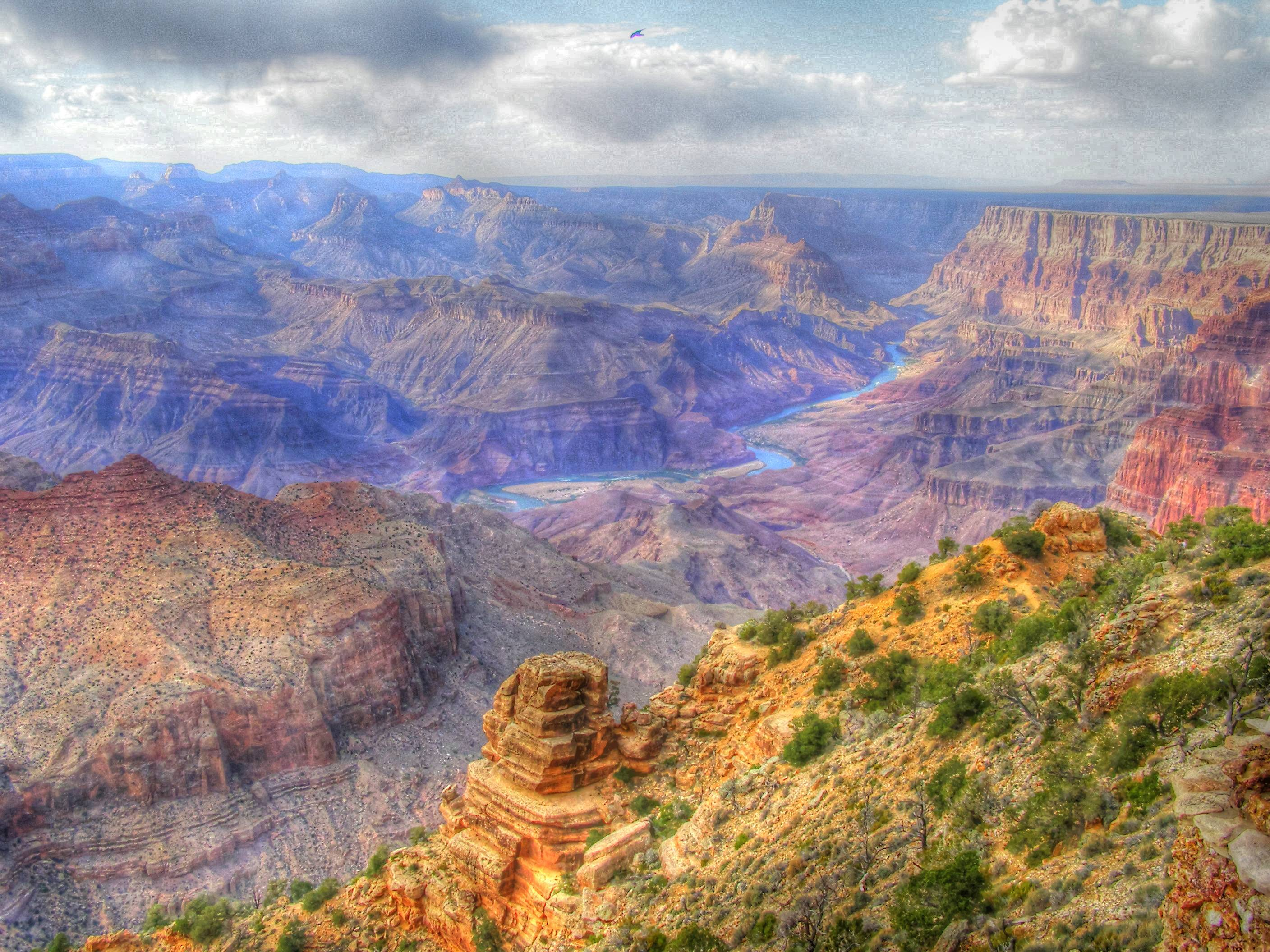 When my wife and I were on vacation in Arizona,  we were overwhelmed by the awesome beauty and  size of the Grand Canyon. I enhanced the tonal values of the image with a program to bring out the dynamic range.