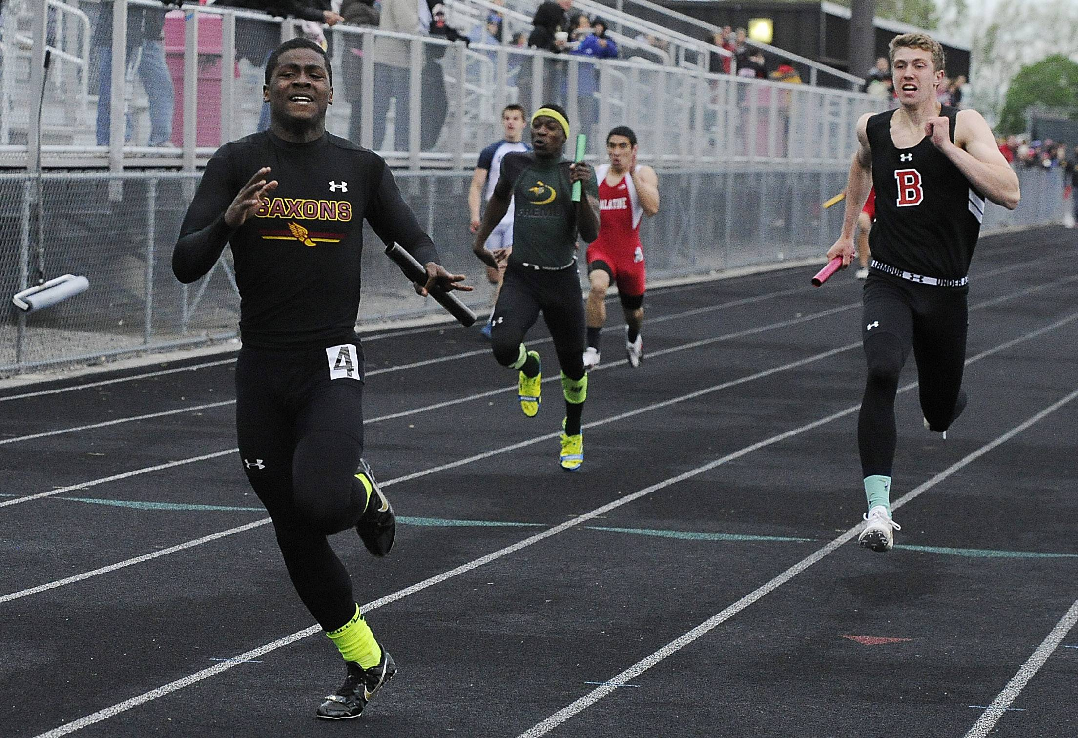 Schaumburg's Shandall Thomas finished a victory in the 4x100 relay with a league record of 41.81 during the Mid-Suburban League meet Friday at Palatine.