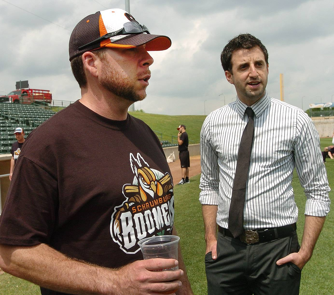 Schaumburg Boomers manager Jamie Bennett, left, with team president and GM Andy Viano, believes this year's club has enough offensive potential to put a lot of pressure on opposing teams.