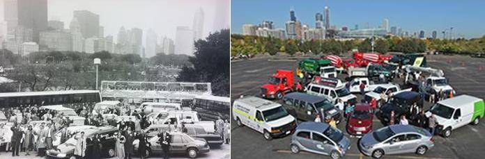 Chicago Area Clean Cities Ride-N-Drive autos from 20 years ago and today. The May 21 Green Drive$ event will feature some 18 different Ride-N-Drive vehicles.