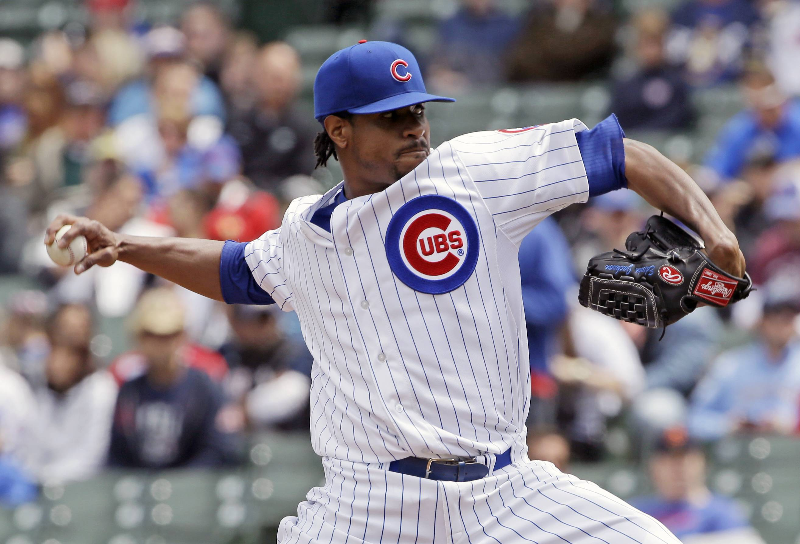 Chicago Cubs starter Edwin Jackson throws against the Milwaukee Brewers during the first inning of a baseball game in Chicago, Saturday, May 17, 2014. (AP Photo/Nam Y. Huh)
