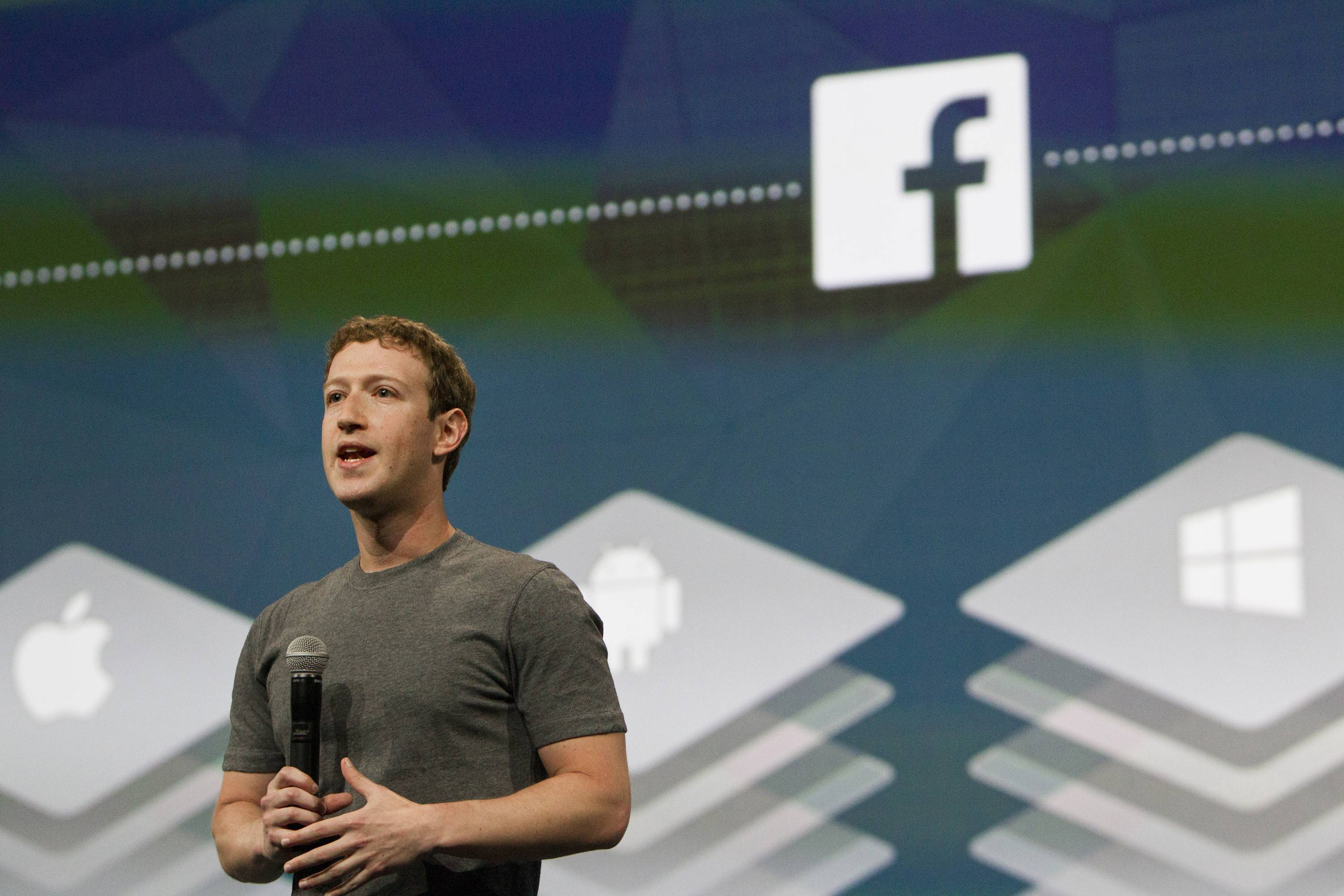Mark Zuckerberg, chief executive officer of Facebook Inc., speaks during the Facebook F8 Developers Conference in San Francisco, California, U.S., on Wednesday, April 30, 2014.