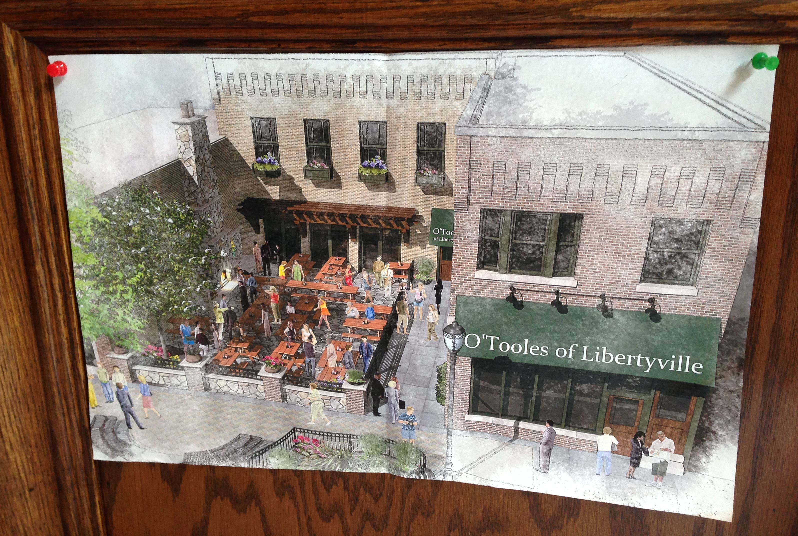 A rendering of the future O'Toole's of Libertyville is tacked to the wall as an estimated $1.5 million renovation at 412 N. Milwaukee Ave. is underway.