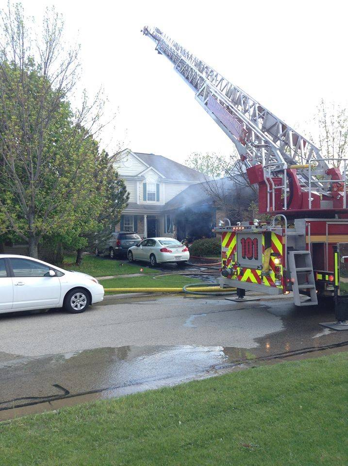 A fire swept through the garage of a Geneva home in the Fisher Farms subdivision about 4:40 p.m. Saturday, authorities said.