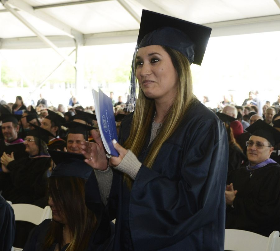 Cecilia Marchant of Des Plaines was recognized for her risk-taking by U.S. Commerce Secretary Penny Pritzker during graduation ceremonies Saturday at Harper College in Palatine.