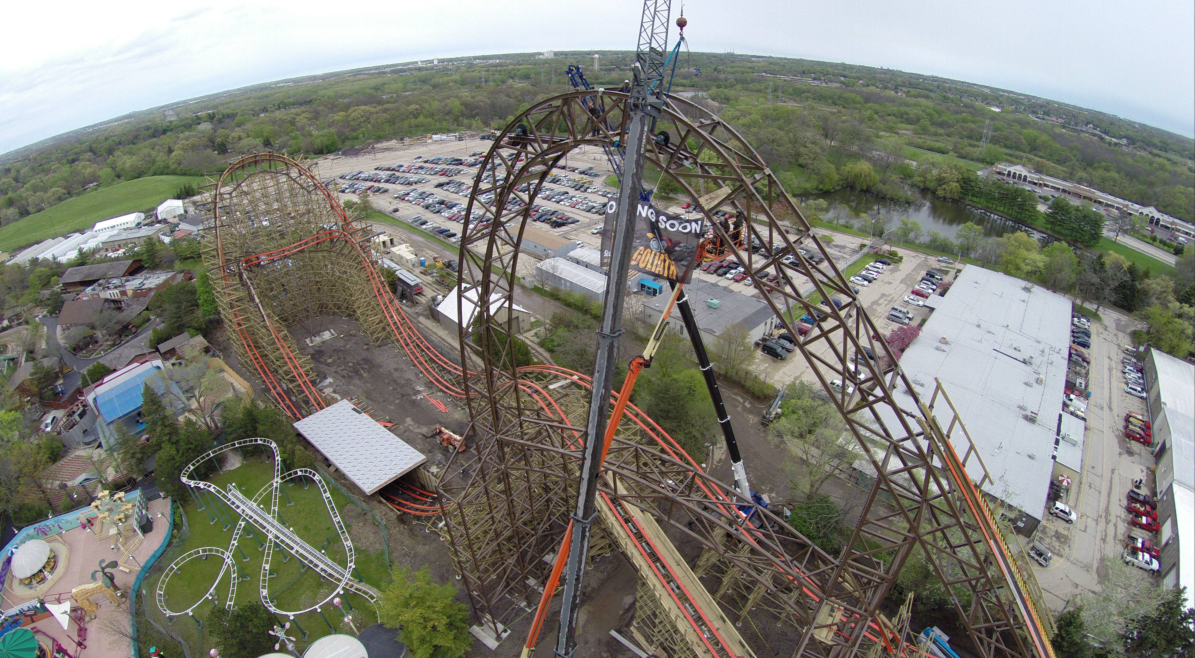 The last piece was bolted in place Friday on the Goliath roller coaster at Great America in Gurnee.