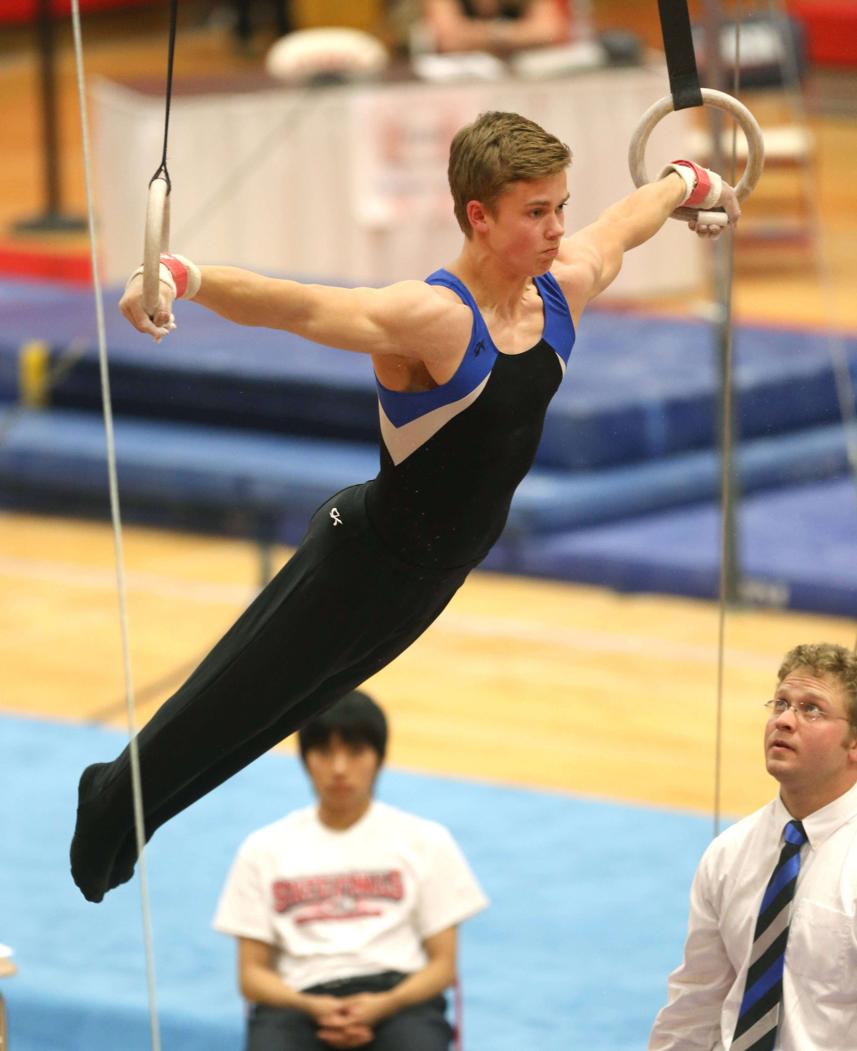 Wheaton Warrenville co-op's Connor Ritchie  performs his still rings routine during the state boys gymnastics finals Saturday at Hinsdale Central.