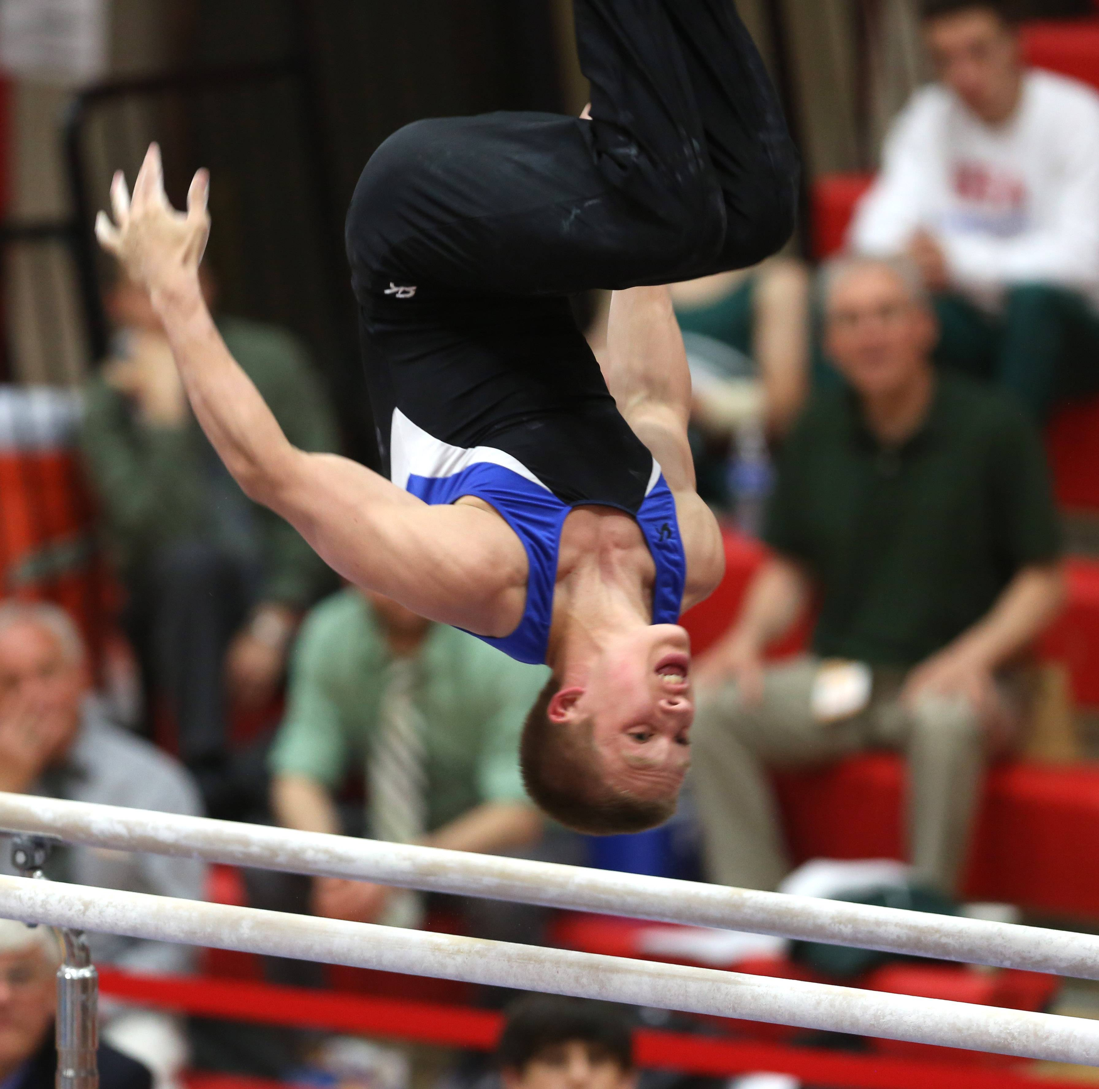 Wheaton Warrenville co-op's Ethan Sansone performs his parallel bars routine during the the state boys gymnastics finals Saturday at Hinsdale Central.