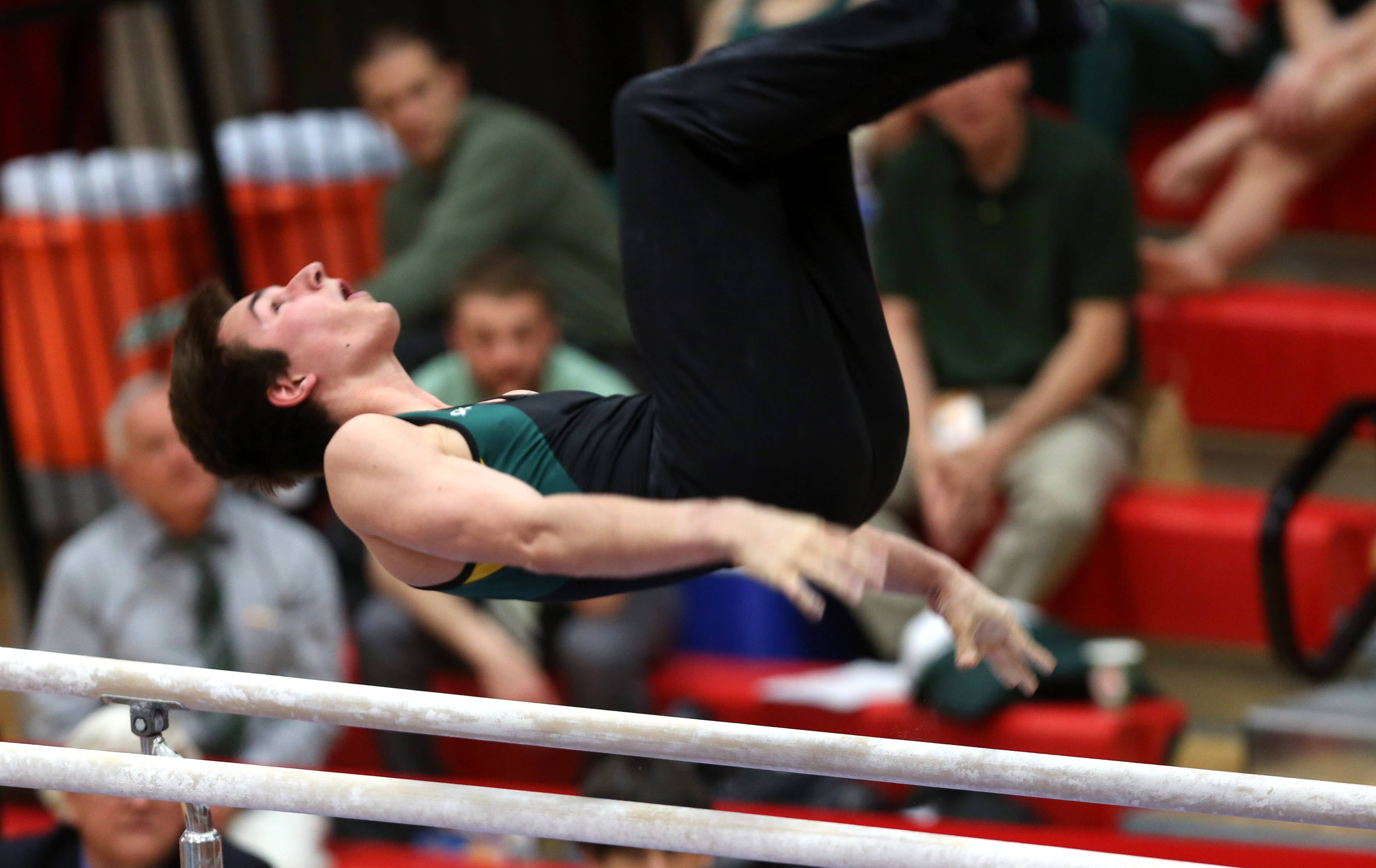 Stevenson's Zack Gilbert performs his parallel bars routine during the boys gymnastics state finals Saturday at Hinsdale Central.