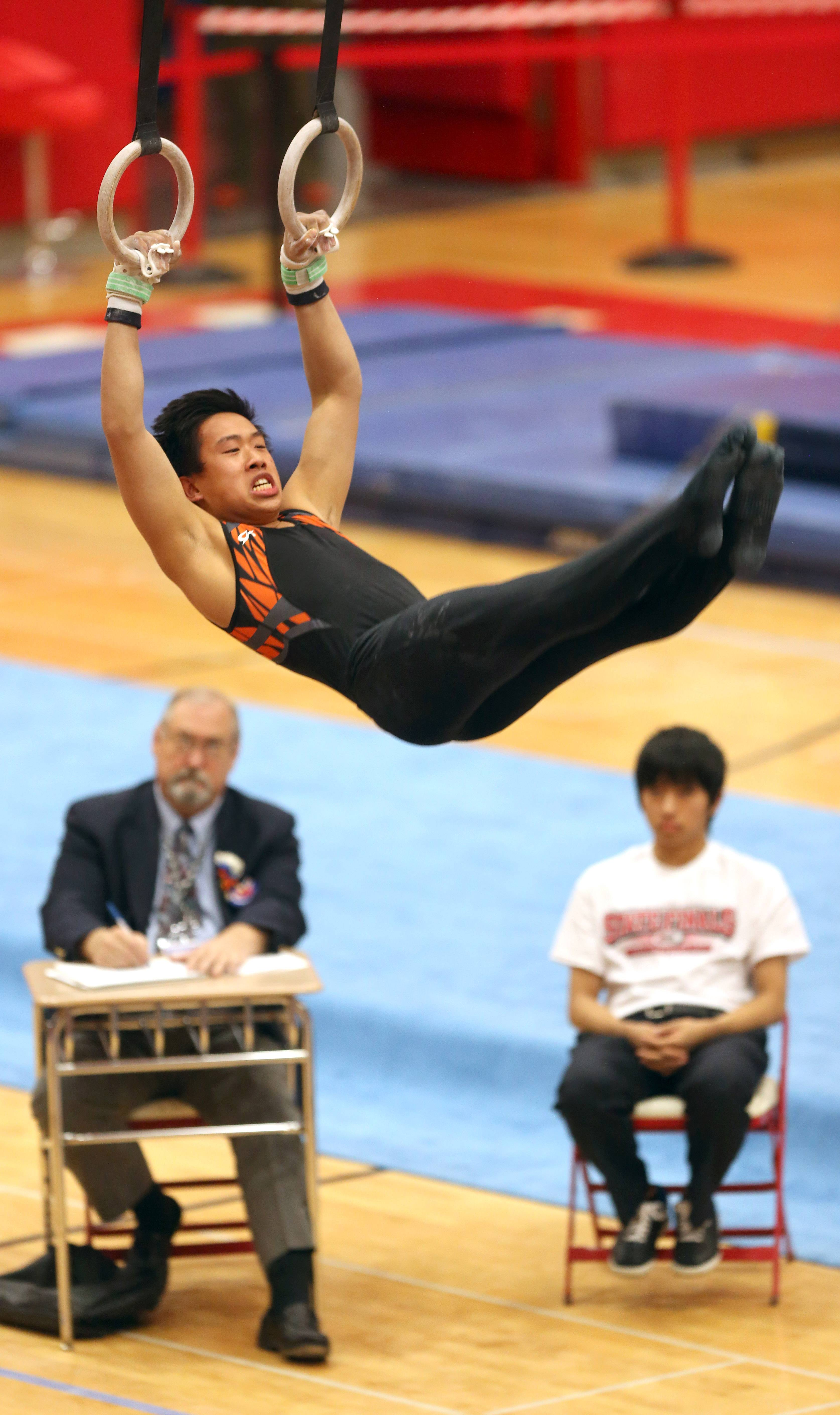 Libertyville's Alex Pong dismounts from his still rings routine during the boys gymnastics state finals Saturday at Hinsdale Central.