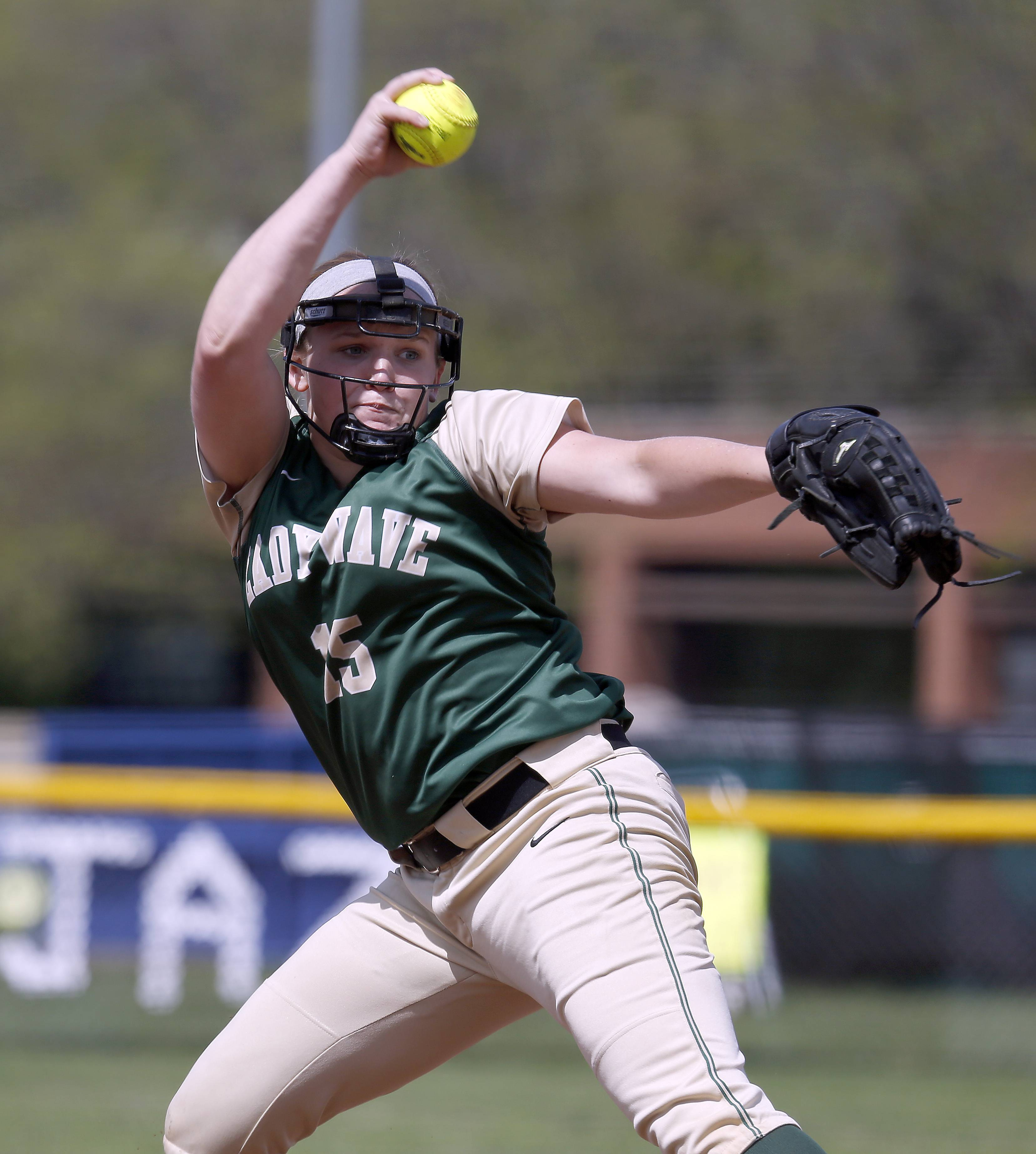 Green Wave pitcher Lindsay Zdroik delivers a heater to the plate during St. Edward's win over Indian Creek at Judson University in Elgin Saturday. Later in the day Zdroik threw a perfect game against Aurora Christian.