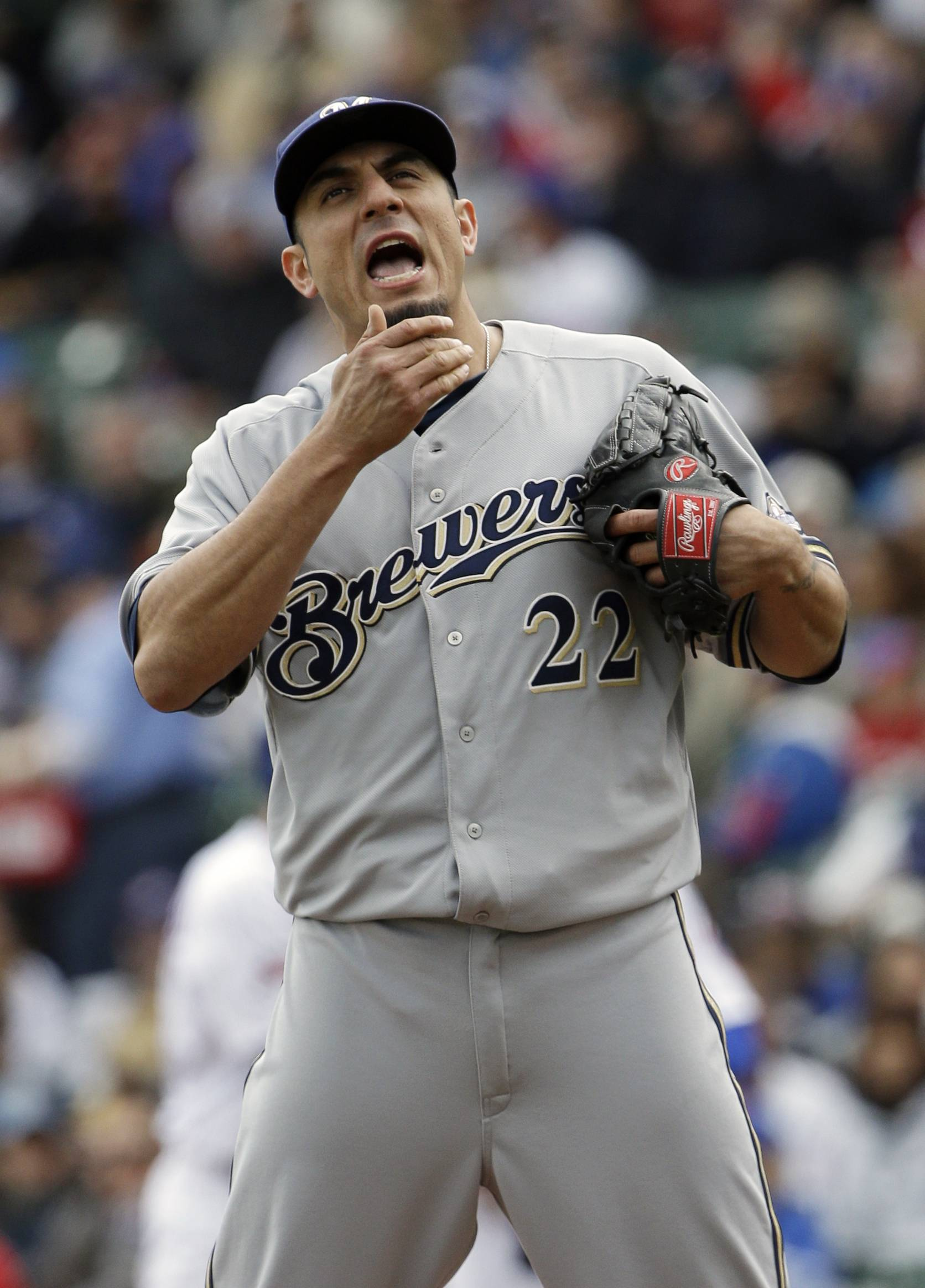 Ex-Cub and Brewers starter Matt Garza fell to 2-4 with an ERA of 4.83. The Cubs exploited Garza's trouble throwing the ball after fielding it to score three times in the first inning.
