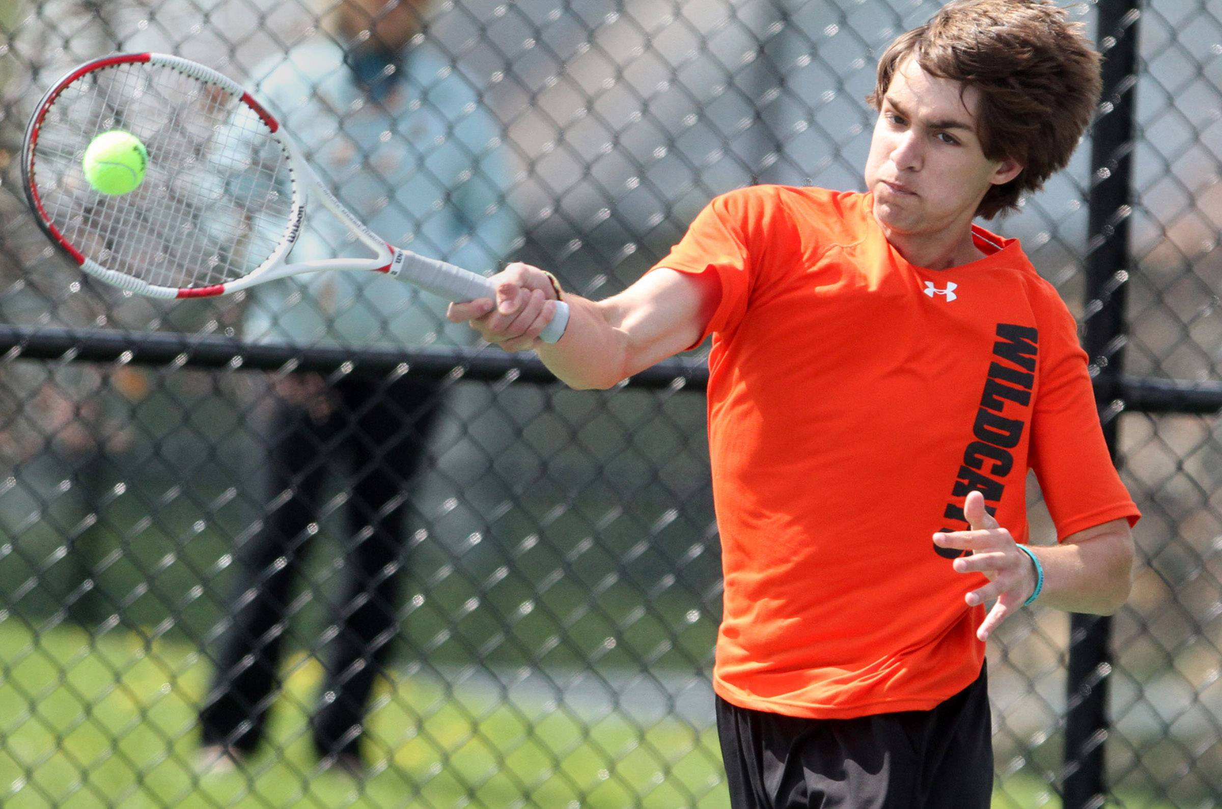 Libertyville's Stefano Tsorotiotis plays Lake Forest's Brice Polender in the No. 2 singles final during Saturday's North Suburban Conference tournament in Vernon Hills.