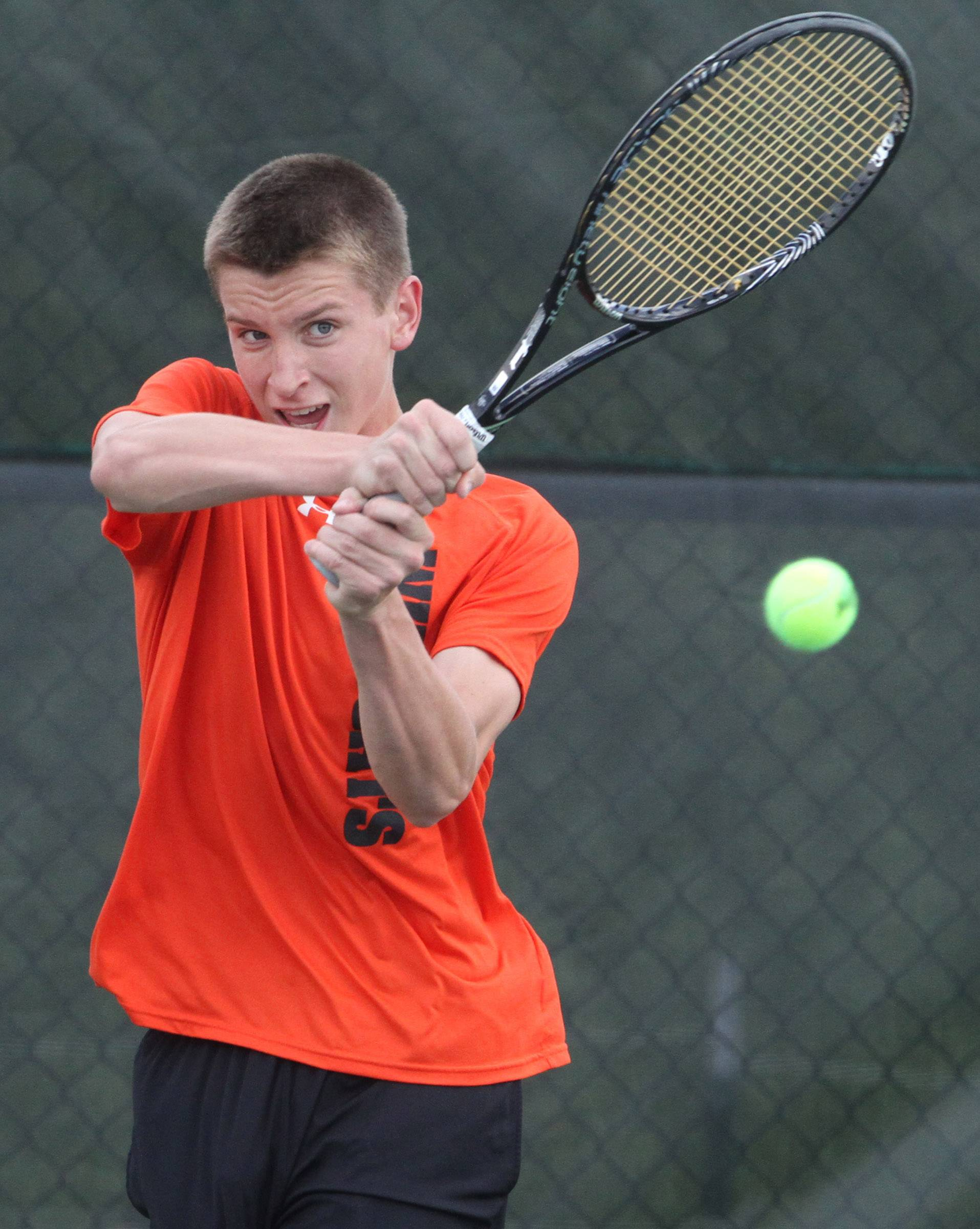 Libertyville's Ben VanDixhorn plays Lake Forest's Peter Tarwid in the No. 1 singles final during Saturday's North Suburban Conference tournament in Vernon Hills.
