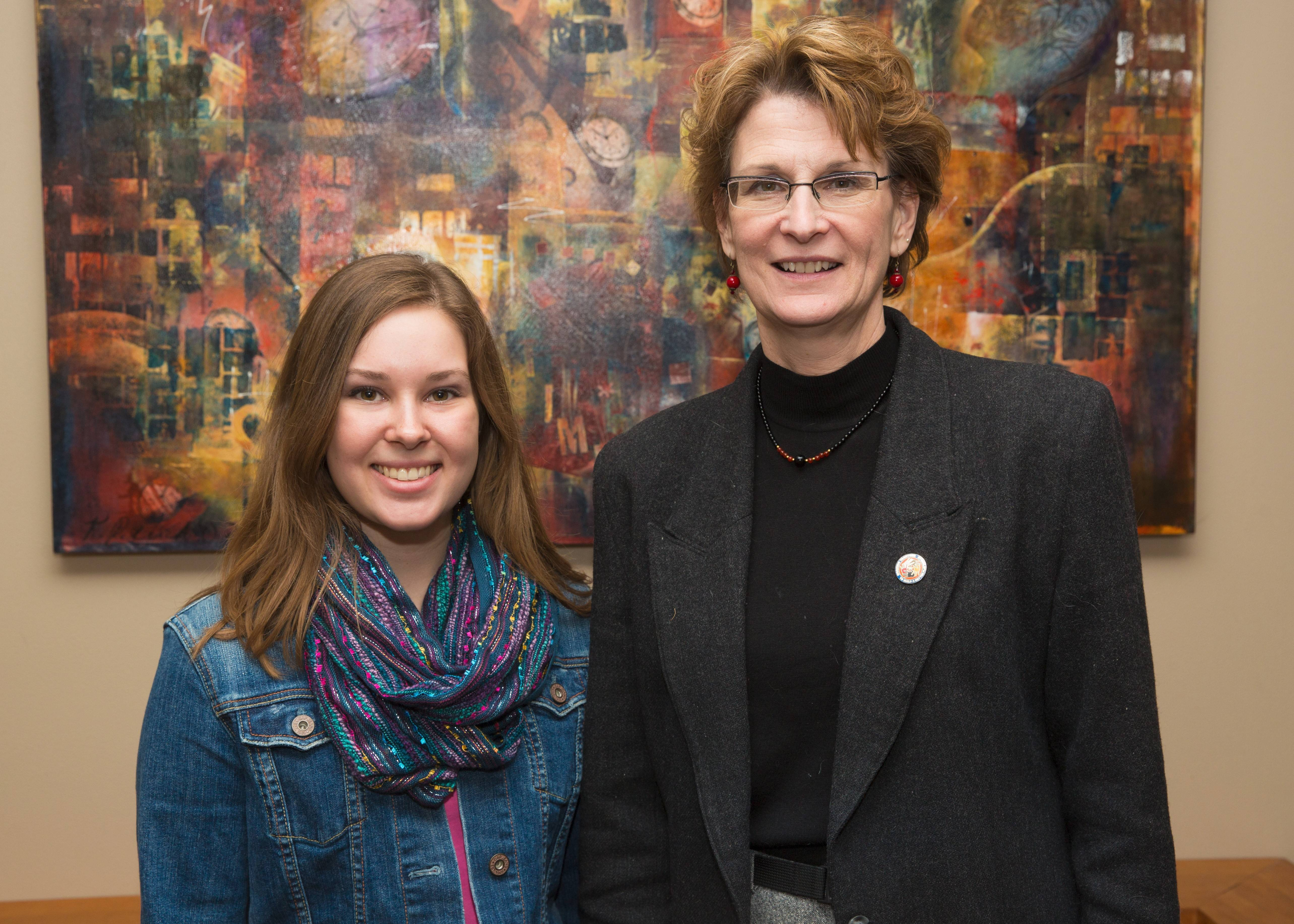 Spring 2014 essay contest winner Connie Spyropoulos of Bartlett, left, with Dr. Mittie Nimocks Den Herder, UW-Platteville's provost and vice chancellor for Academic Affairs.
