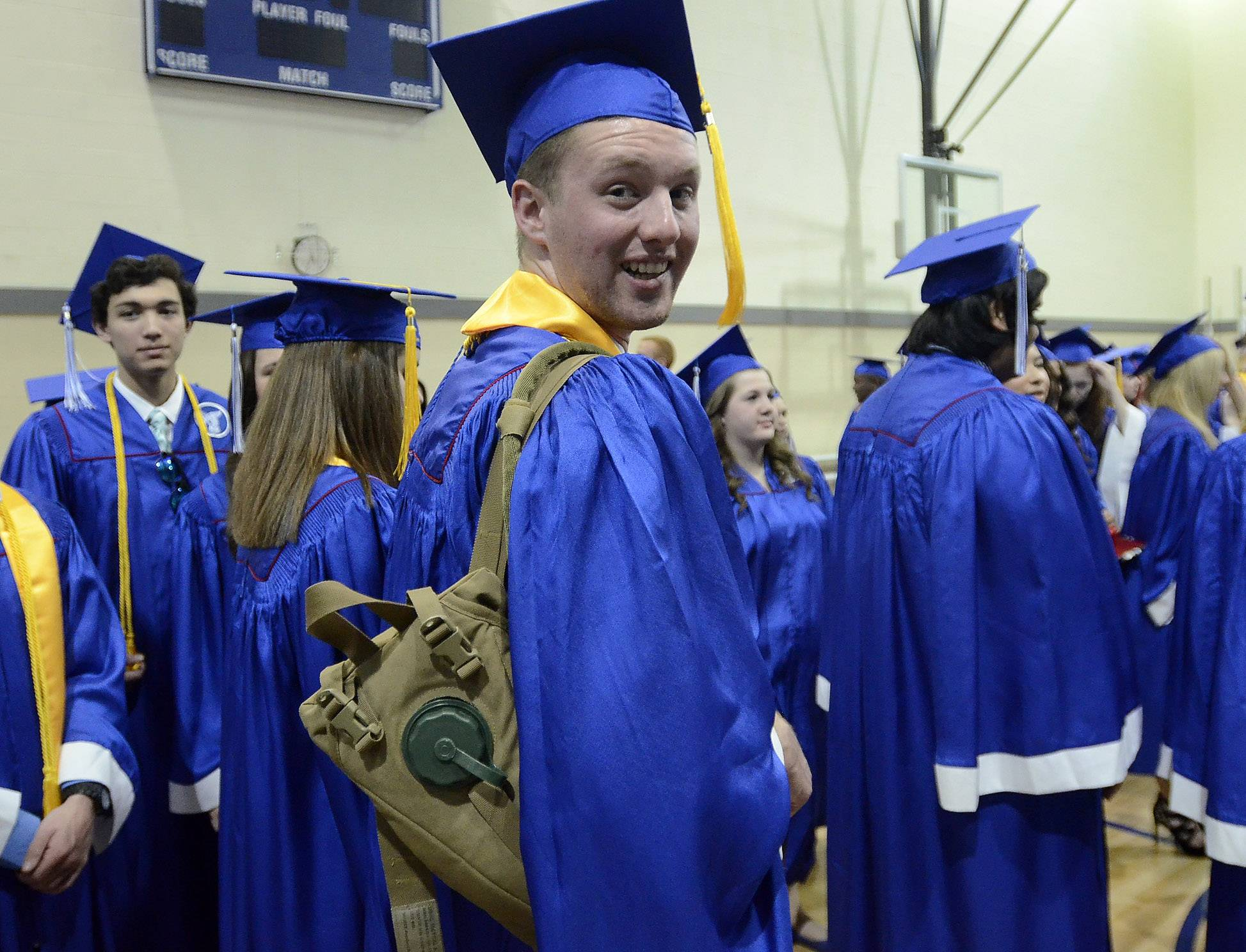 Ben Nagelhout came prepared with his own supply of water at the Lakes Community High School graduation.