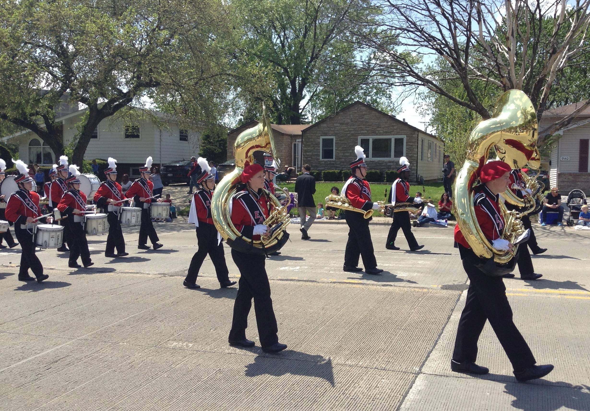 The Glenbard East High School marching band helped energize the crowd during Sunday's Lilac Parade in Lombard. Gorgeous spring weather greeted parade spectators eager to enjoy the outdoors after an unpleasant start to the weekend.