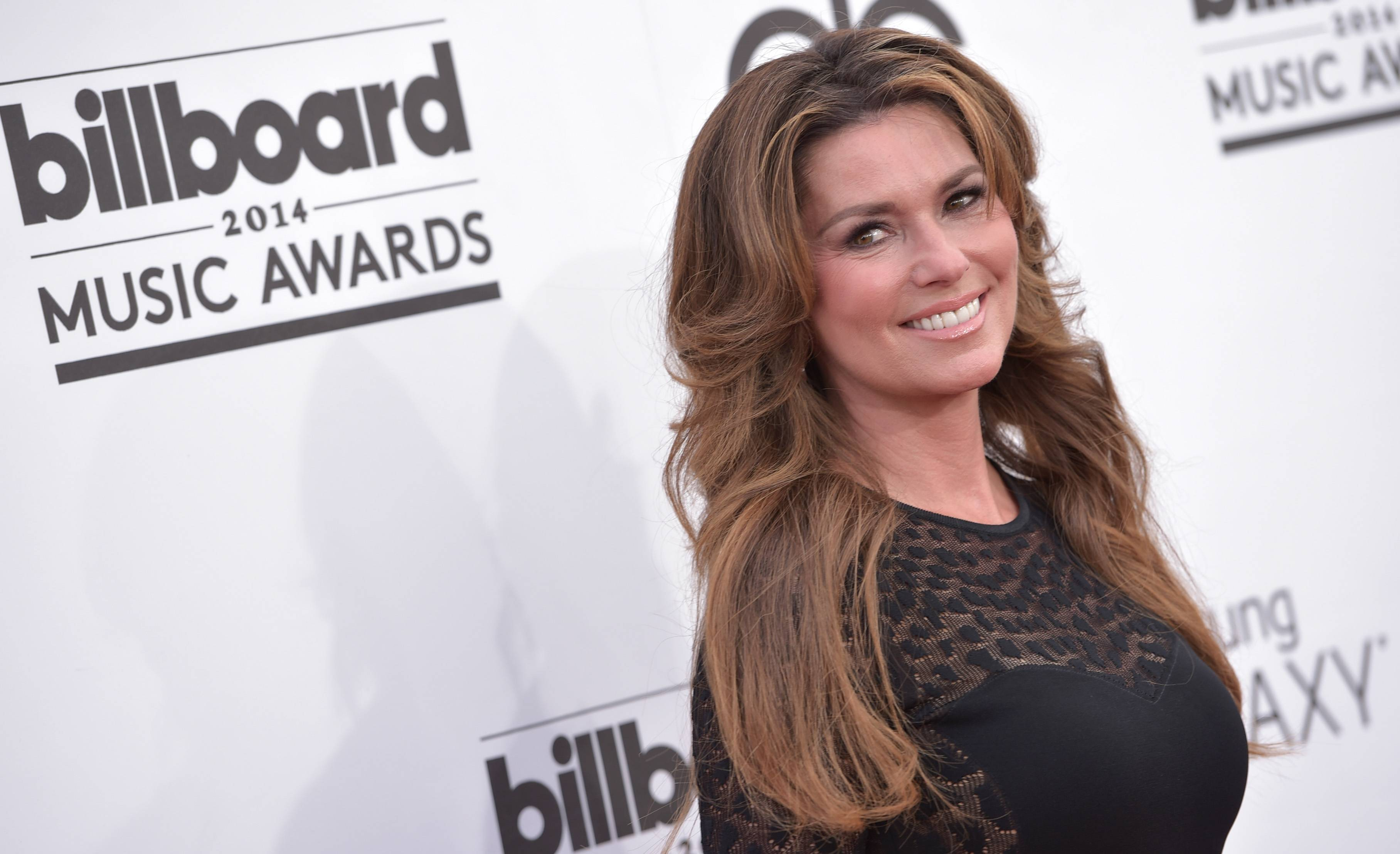 Shania Twain arrives at the Billboard Music Awards at the MGM Grand Garden Arena on Sunday, May 18, 2014, in Las Vegas.
