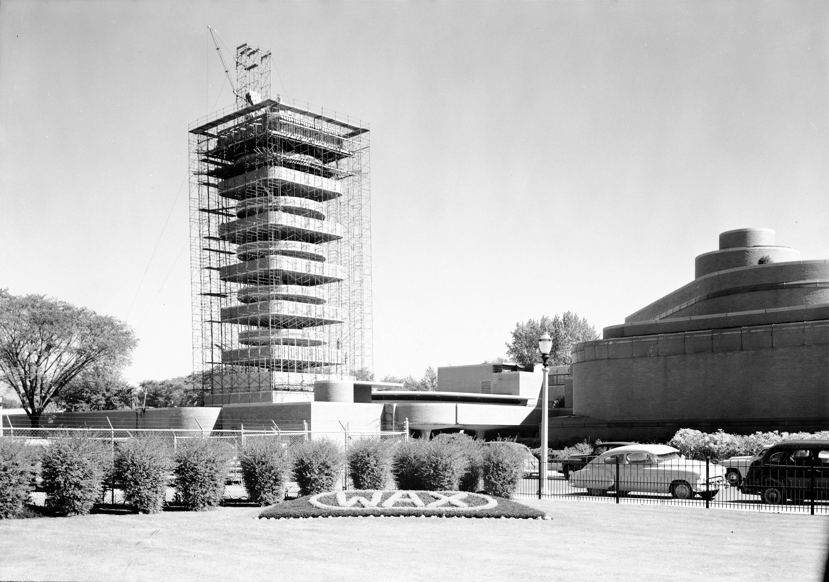 This undated photo shows construction of the Research Tower designed by Frank Lloyd Wright for home products giant SC Johnson in Racine, Wisconsin.