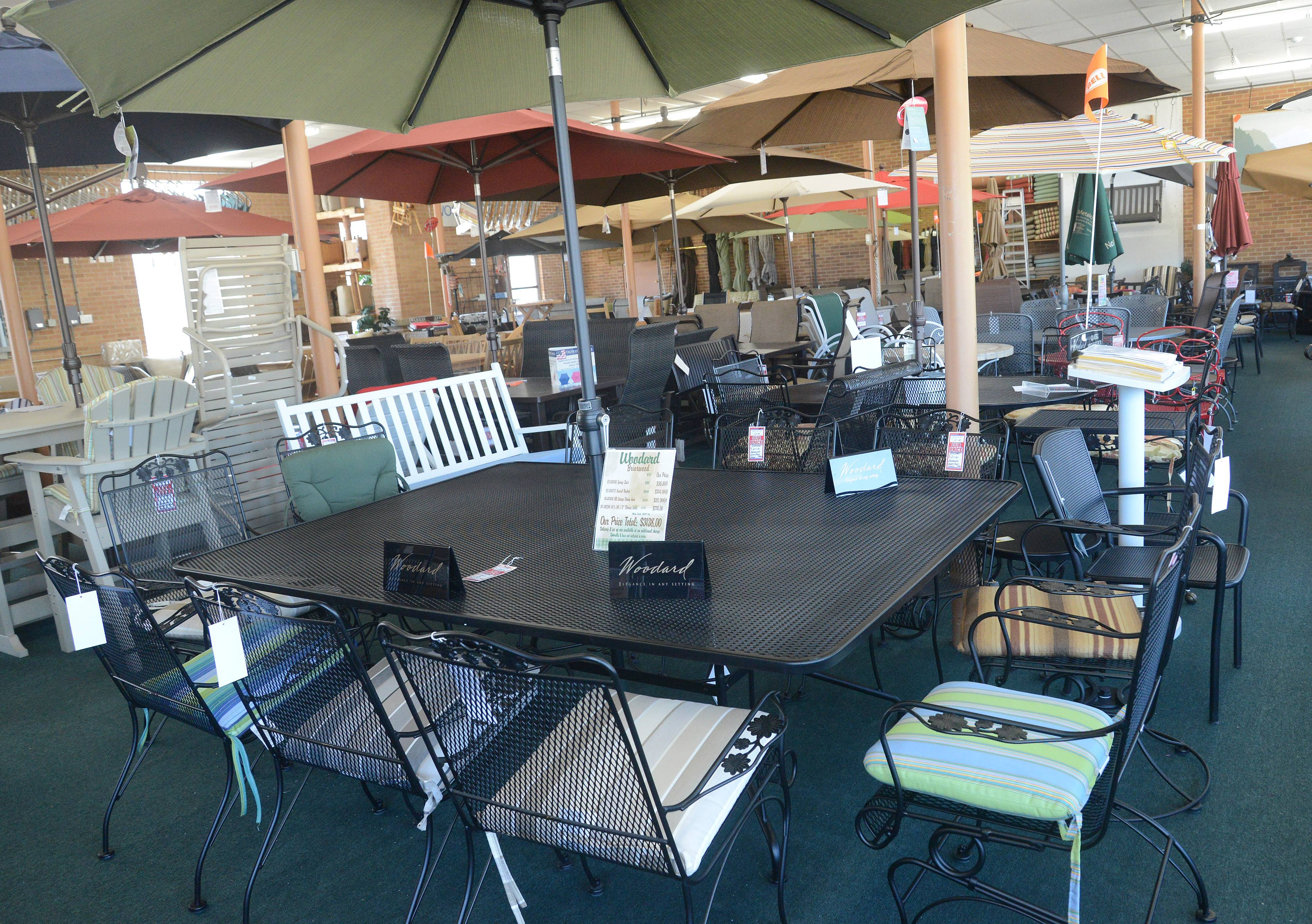 After all that great cooking, you'll want enough seating for everyone. Northwest Metalcraft offers dining sets with umbrellas big enough to cover the furniture.