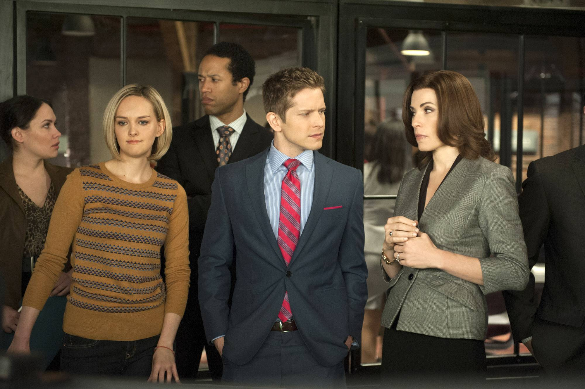 "Jess Weixler, left, Matt Czuchry and Julianna Margulies star in ""The Good Wife,"" which airs its season finale at 8 p.m. Sunday. ""The Good Wife"" has replenished the stripped-bare courtroom genre with complex storylines that employ human relationships as much as legal brinkmanship."