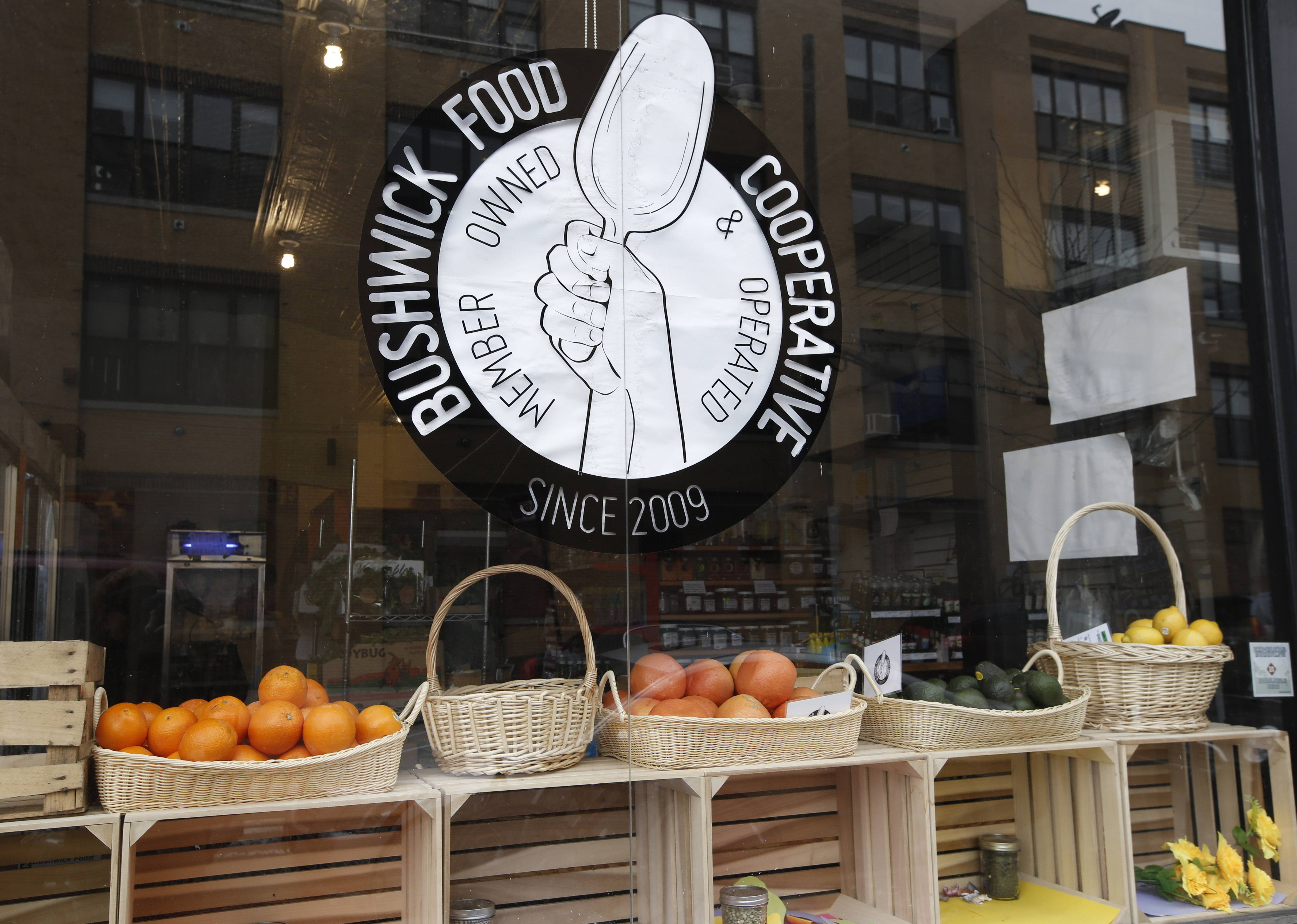 The Bushwick Food Cooperative is located at the Shops at the Loom, on the site of a former textile mill in Brooklyn's Bushwick neighborhood in New York.