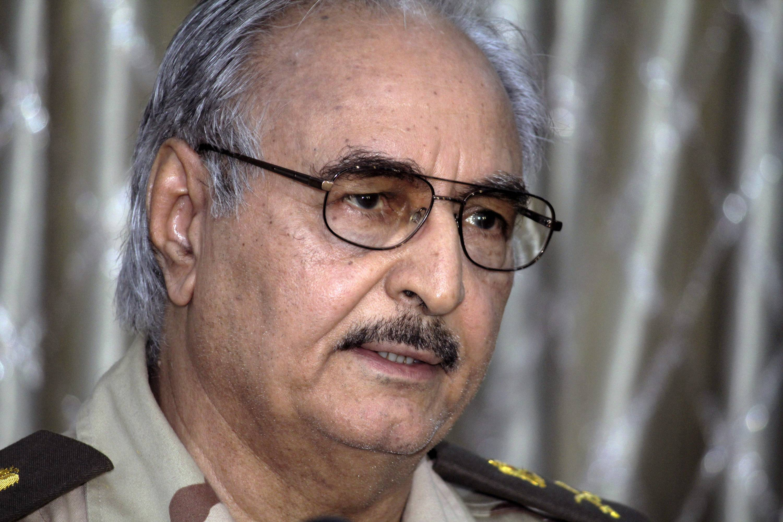 Libyan Gen. Khalifa Hifter addresses a press conference in Benghazi, Libya, Saturday.