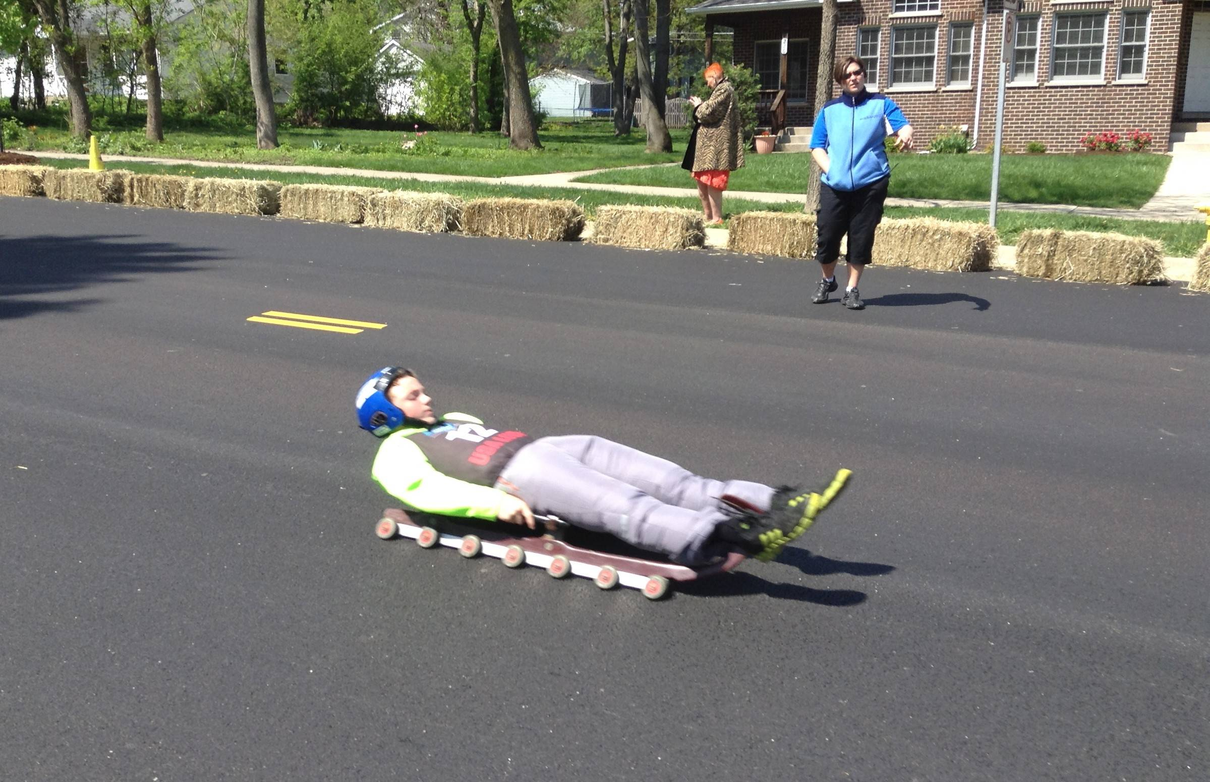 "The participants at the ""Slider Search"" in Westmont were evaluated on how well they took direction and how they steered the wheeled sled. Youngsters who performed well will have a chance to earn a spot on the U.S. Junior Luge Team."