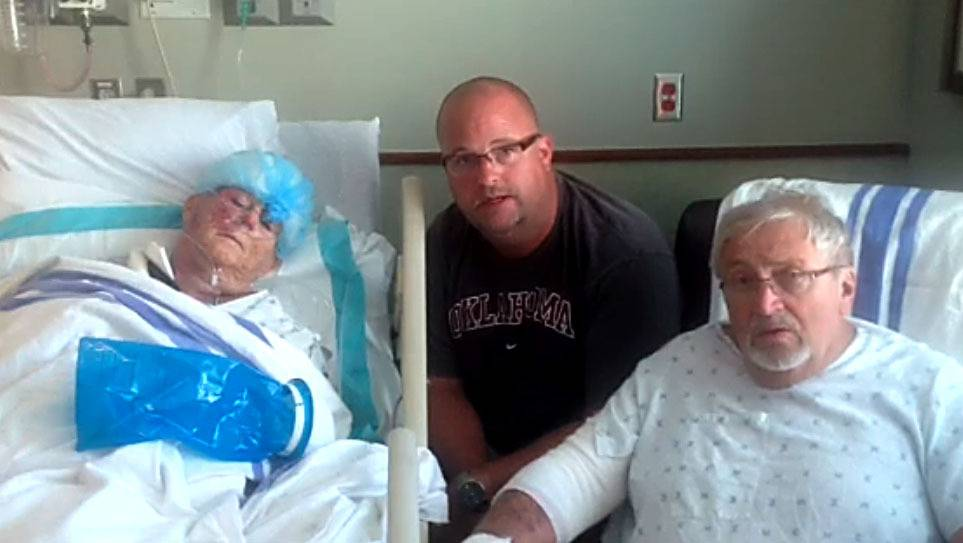 Steve Kozak of Schaumburg visited his parents, Frank and Char, in the hospital after they were injured in a tornado that destroyed their relatives' Oklahoma City home on May 20, 2013.