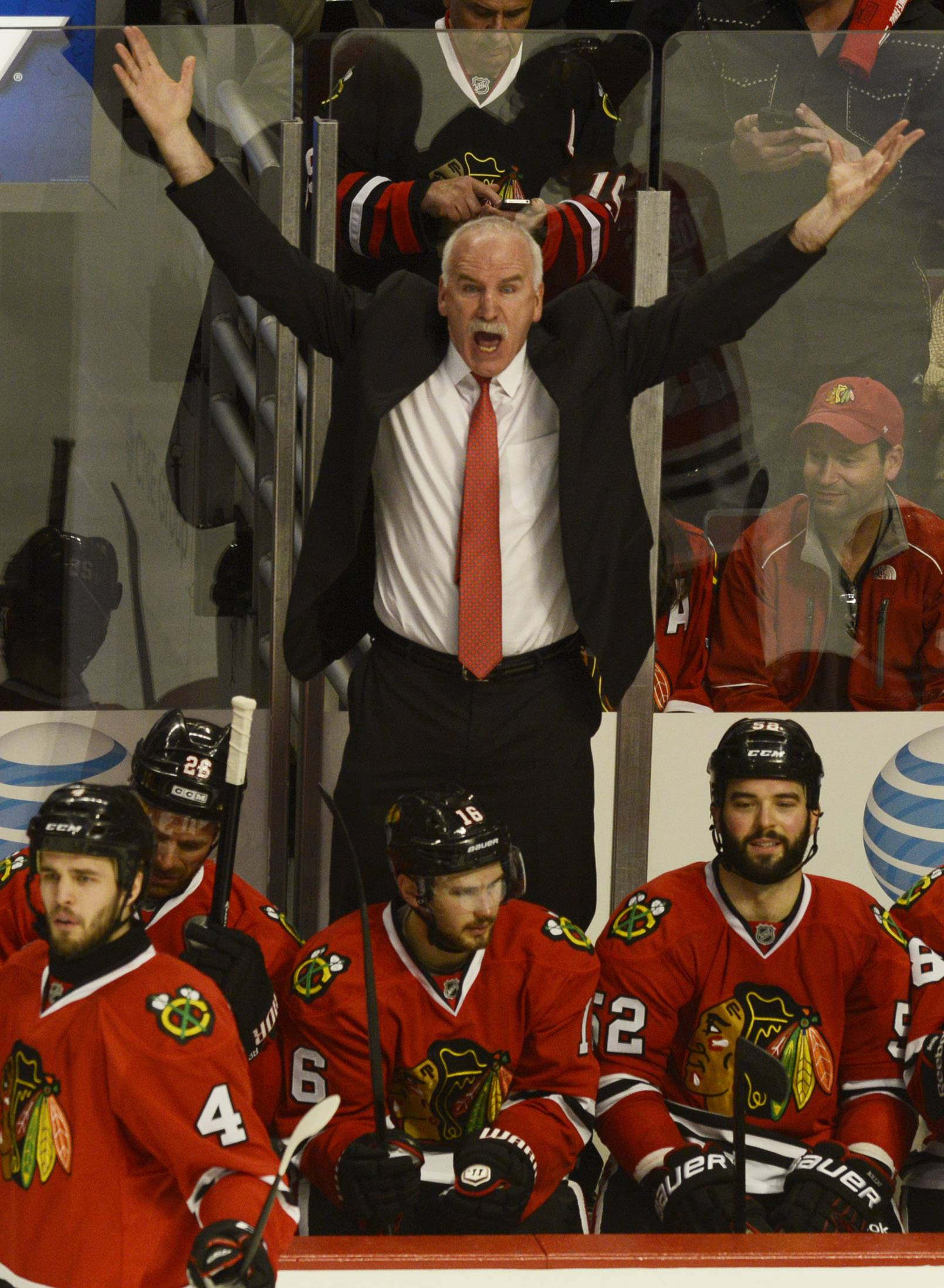 Blackhawks coach Joel Quenneville shows his displeasure from the bench after a second-period goal was disallowed during Sunday's game at the United Center in Chicago.