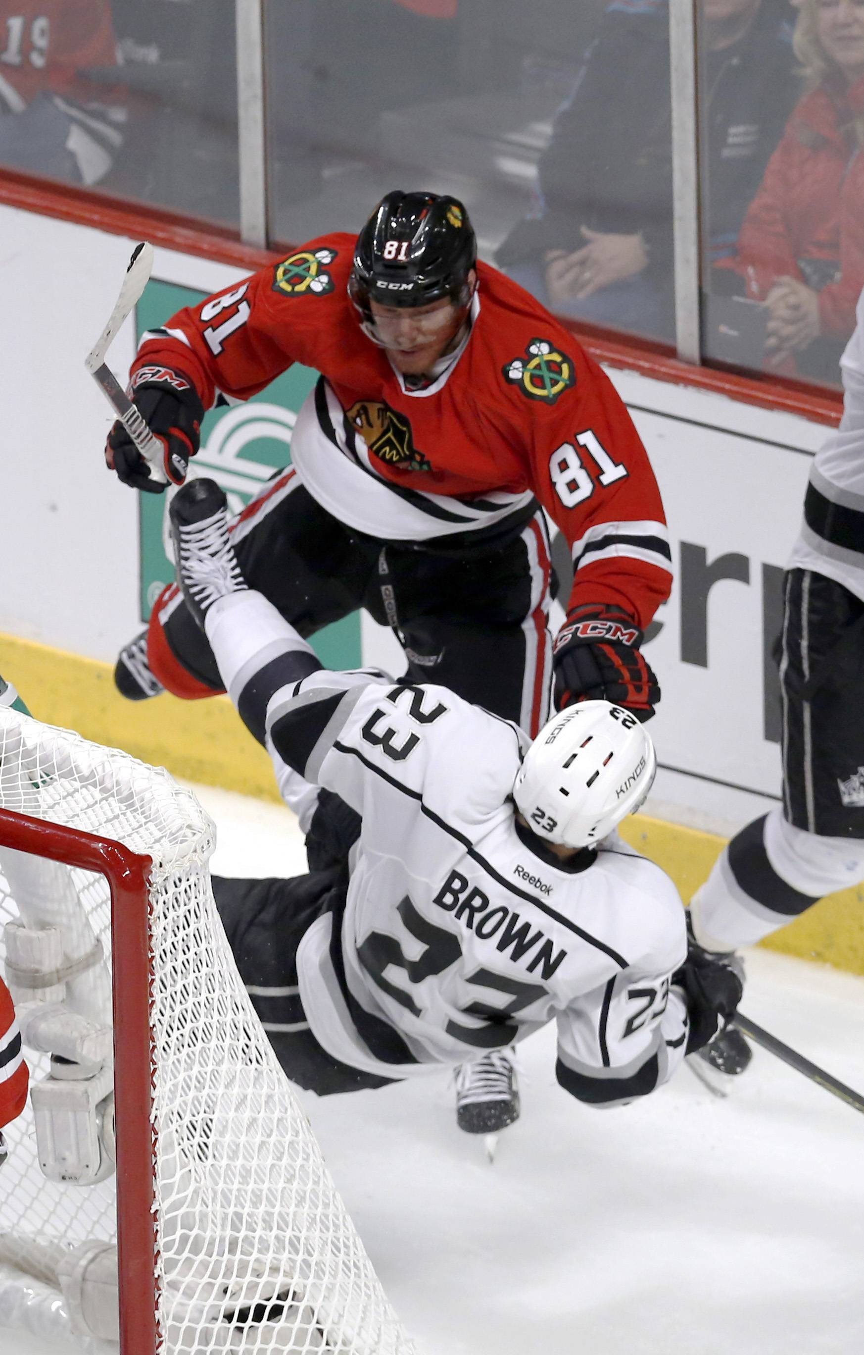 Chicago Blackhawks right wing Marian Hossa (81) checks Los Angeles Kings right wing Dustin Brown (23) behind the net during the third period.
