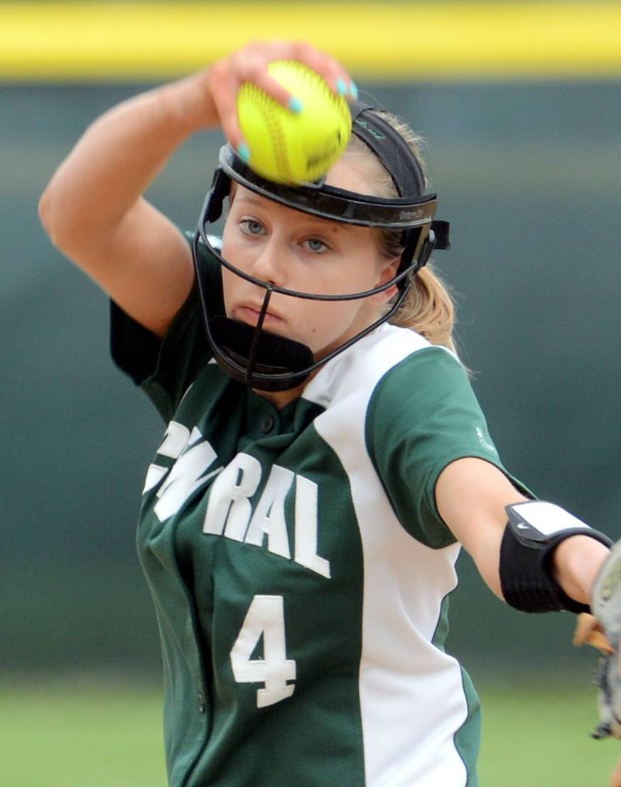 Grayslake Central pitcher Brittany Brown focuses on a Grayslake North batter during Monday's game.