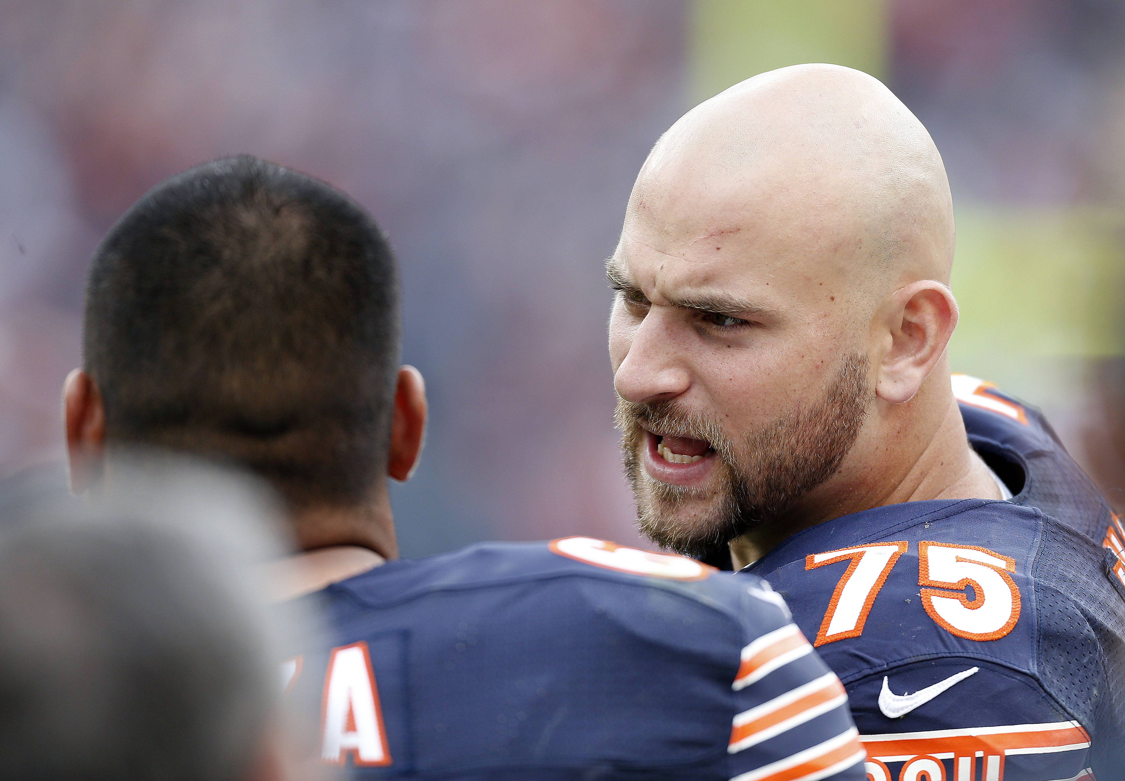 Bears offensive guard Kyle Long (75) made tremendous progress during his rookie season, and Bears coaches say he has shown great growth during the off season as well.