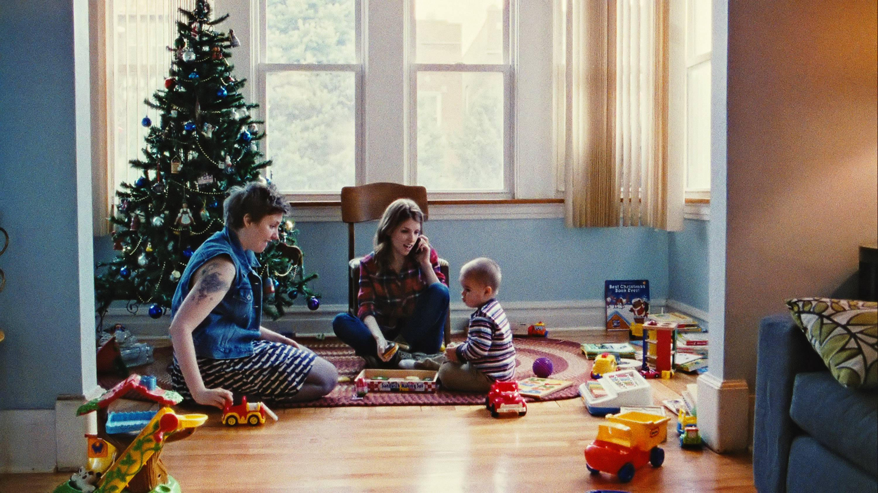 "Lena Dunham, left, and Anna Kendrick star in ""Happy Christmas."""