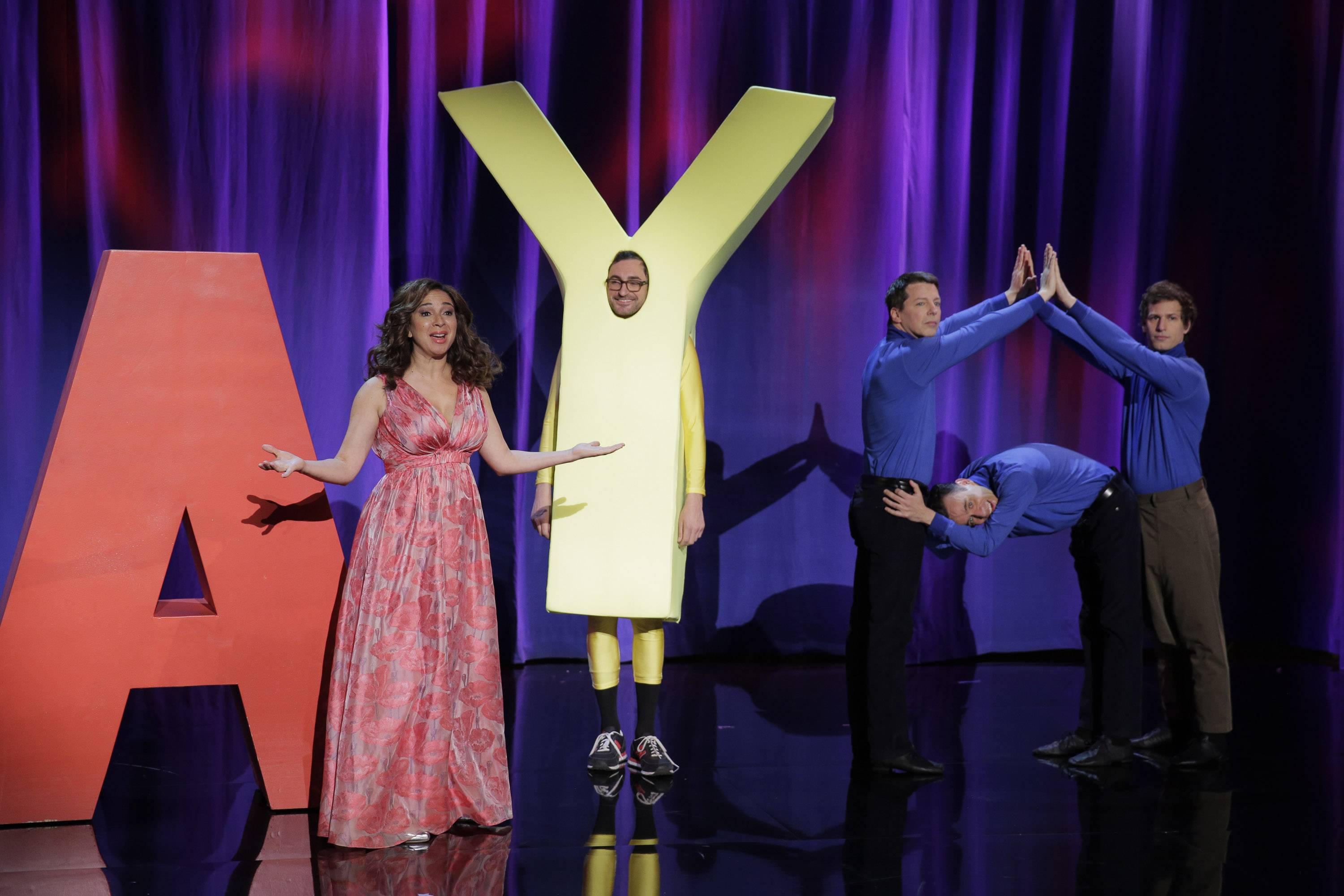 "Sean Hayes, left, Fred Armisen and Andy Samberg join Maya Rudolph for the debut of ""The Maya Rudolph Show"" at 9 p.m. Monday on NBC."
