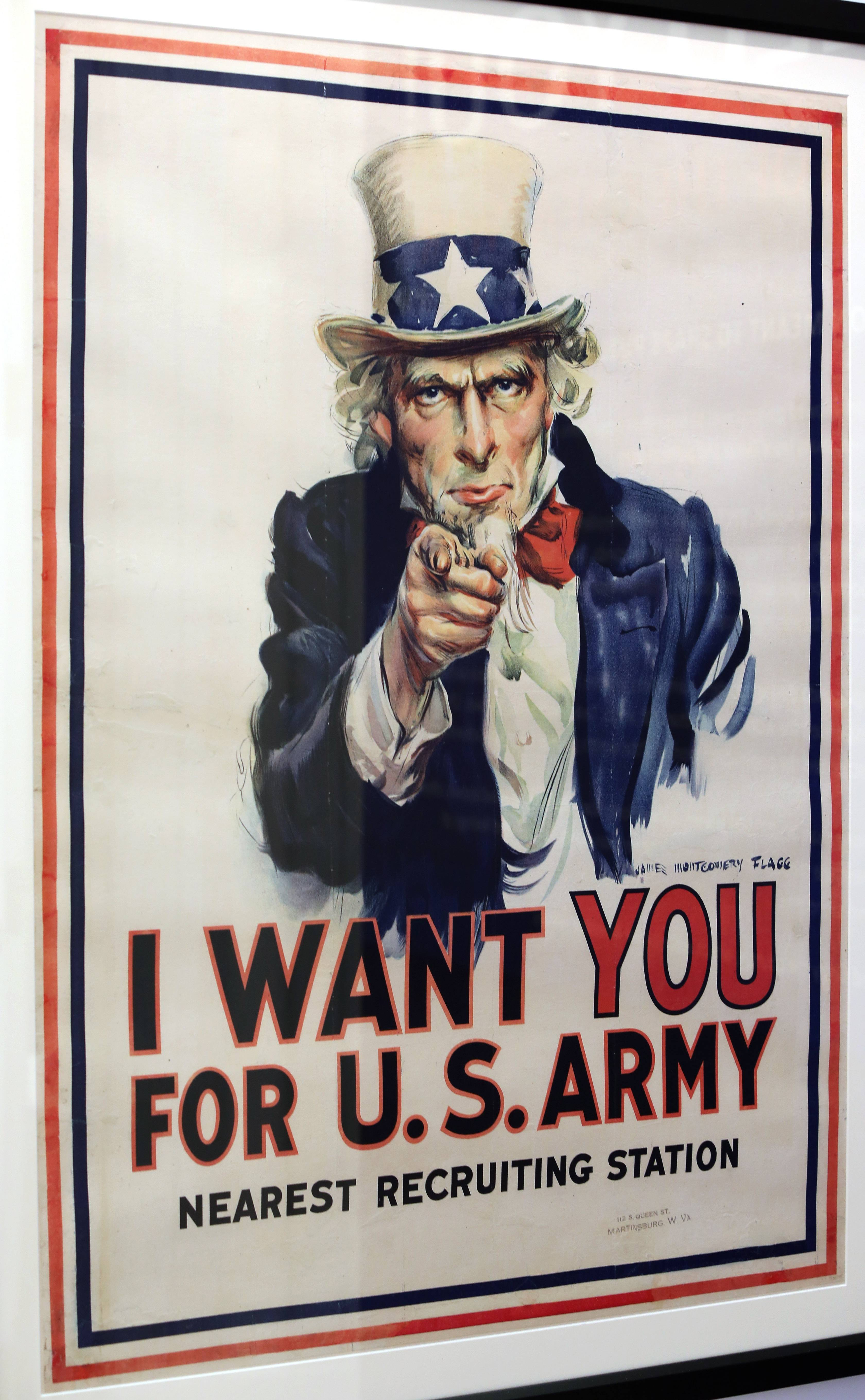"Four million copies of James Montgomery Flagg's famous ""Uncle Sam"" poster were produced during World War I and it was used again in World War II. Flagg said he used himself as the model for Uncle Sam to save the cost of paying a model."