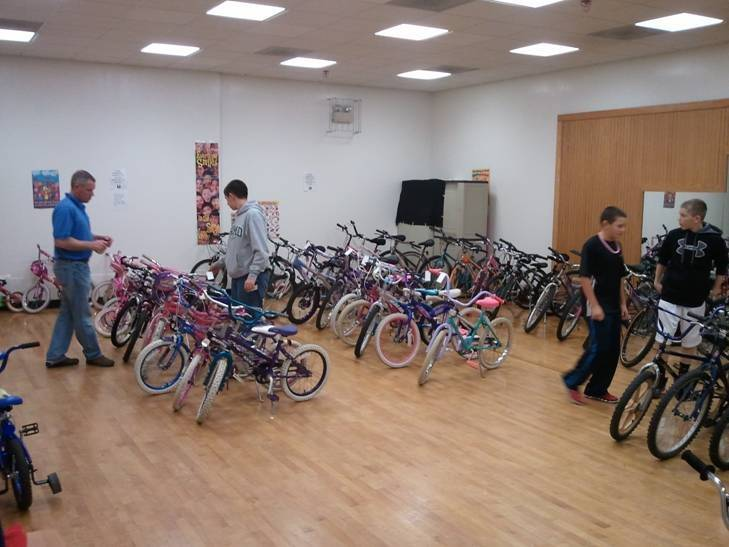 Volunteers stage bikes donated by Mikes Bike Shop in Palatine before the Day of Giving last November organized by Palatine Assisting Through Hope.