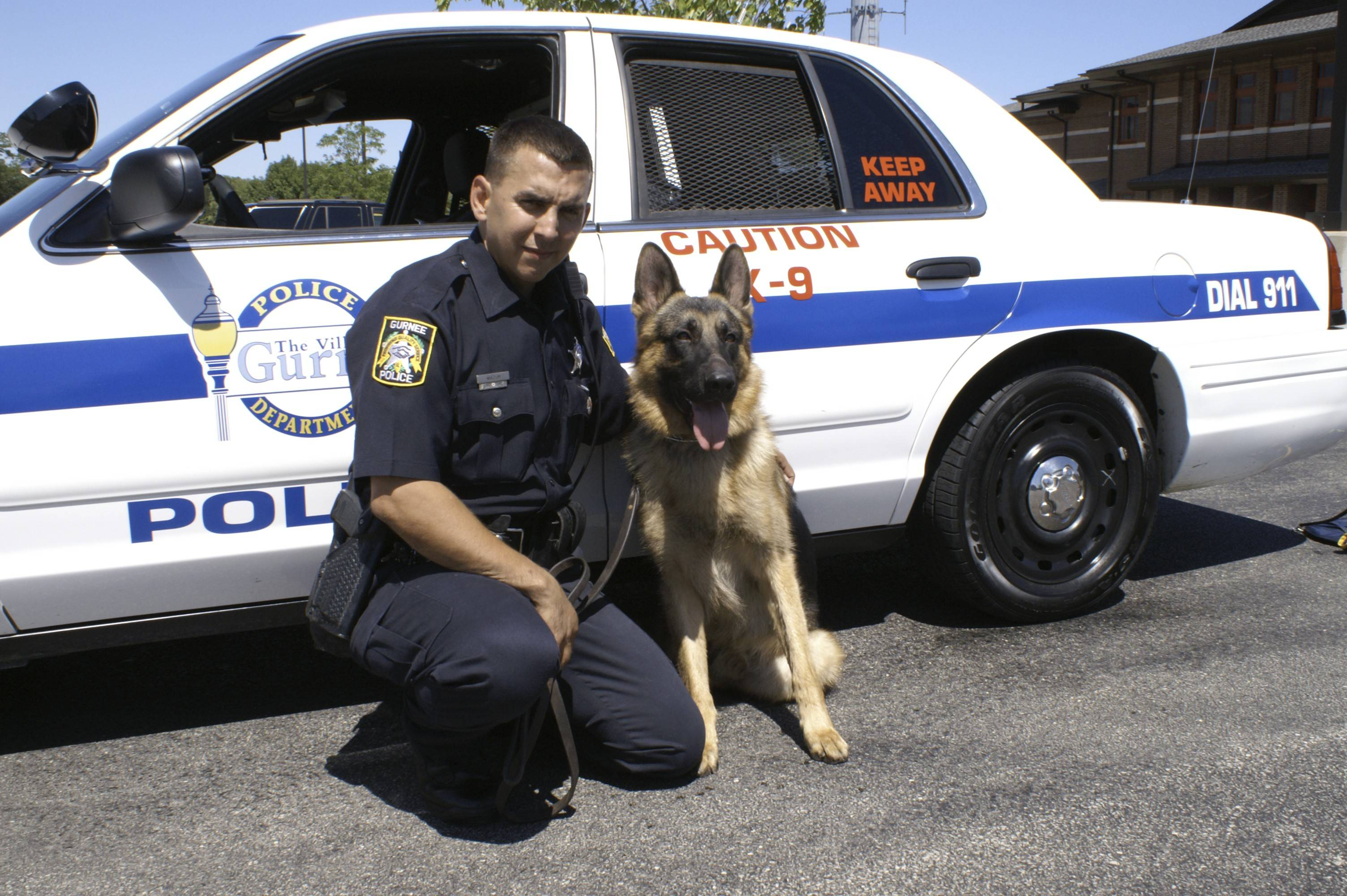 Gurnee police dog Shane, with handler Officer Philip Mazur, is retiring after about eight years on the job. Shane will continue to live with Mazur as a family dog.