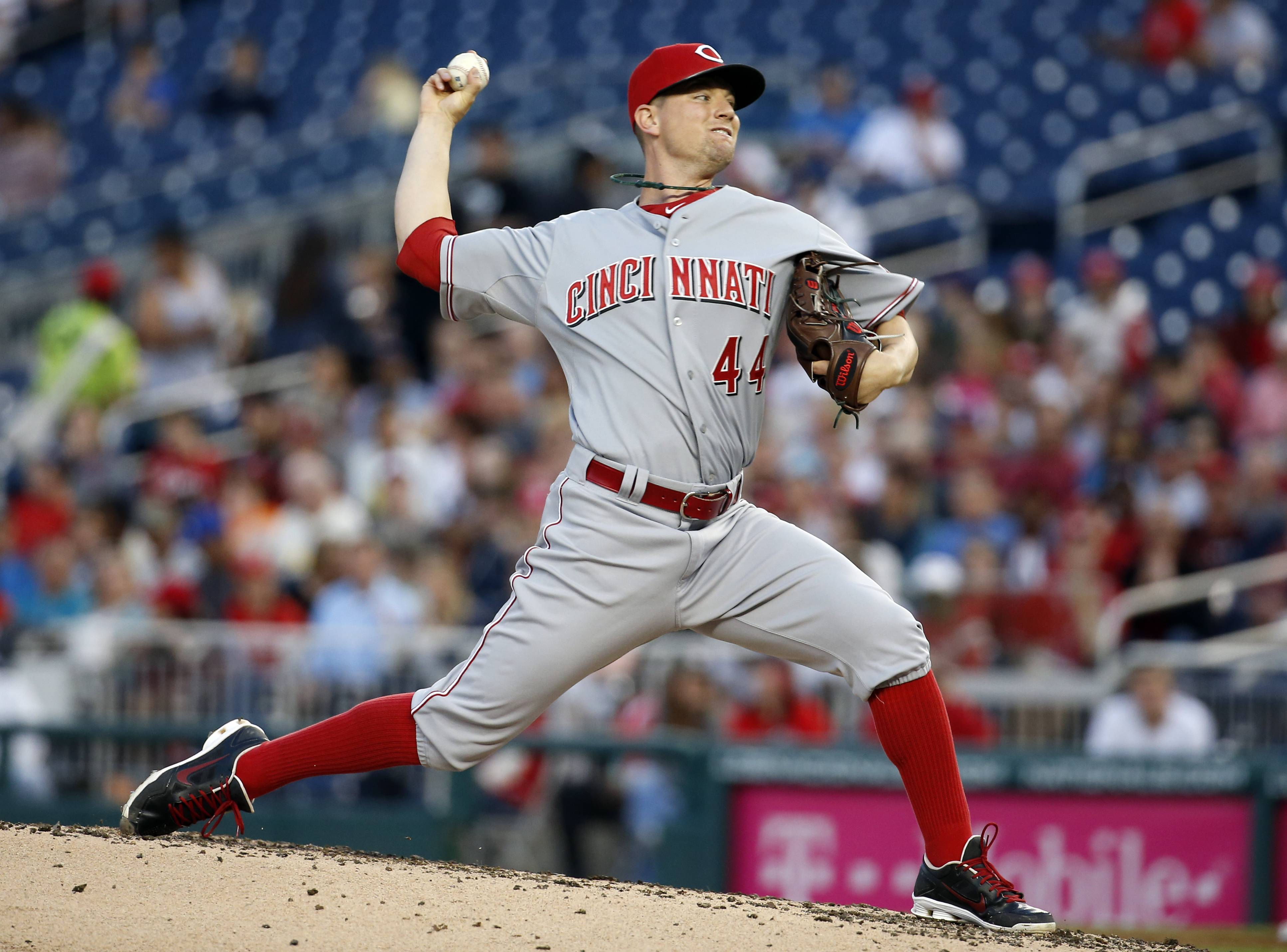 Cincinnati Reds starting pitcher Mike Leake (44) throws during the third inning of a baseball game against Monday the Washington Nationals at Nationals Park in Washington.