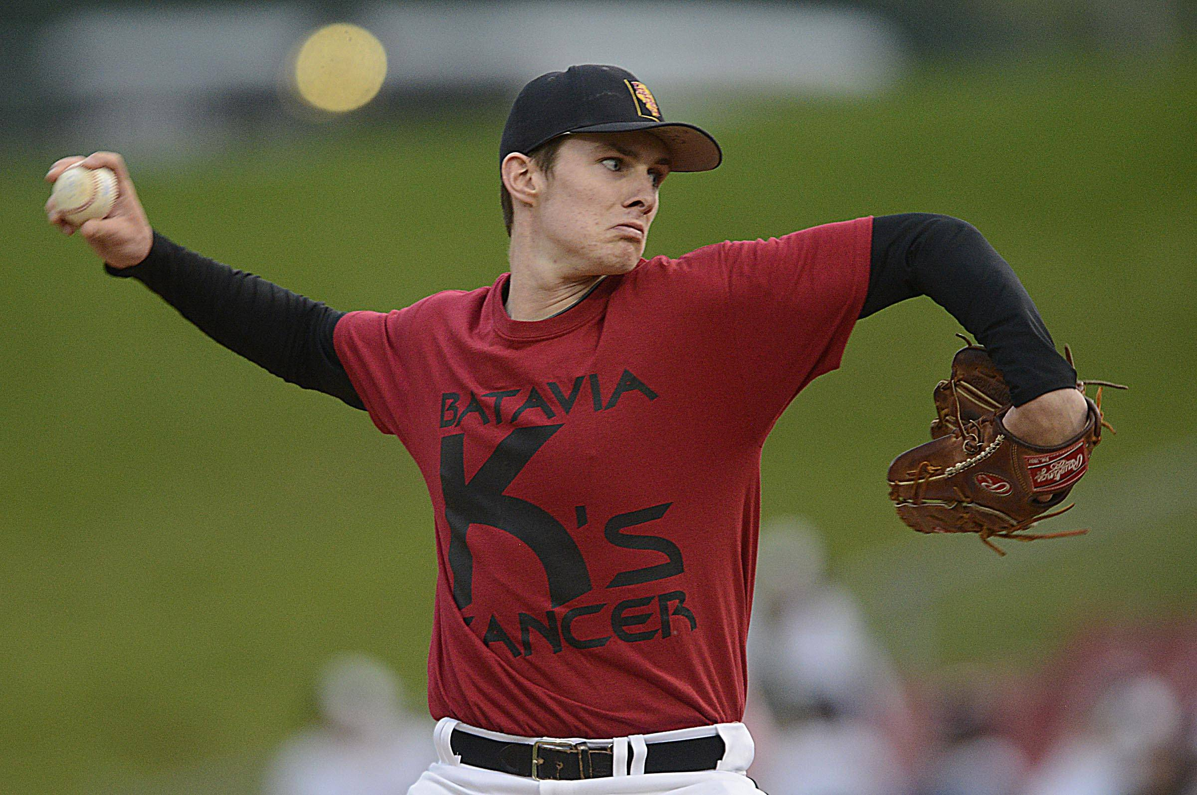 Batavia's Ryan Olson delivers against Kaneland Monday at Fifth Third Ballpark in Geneva.
