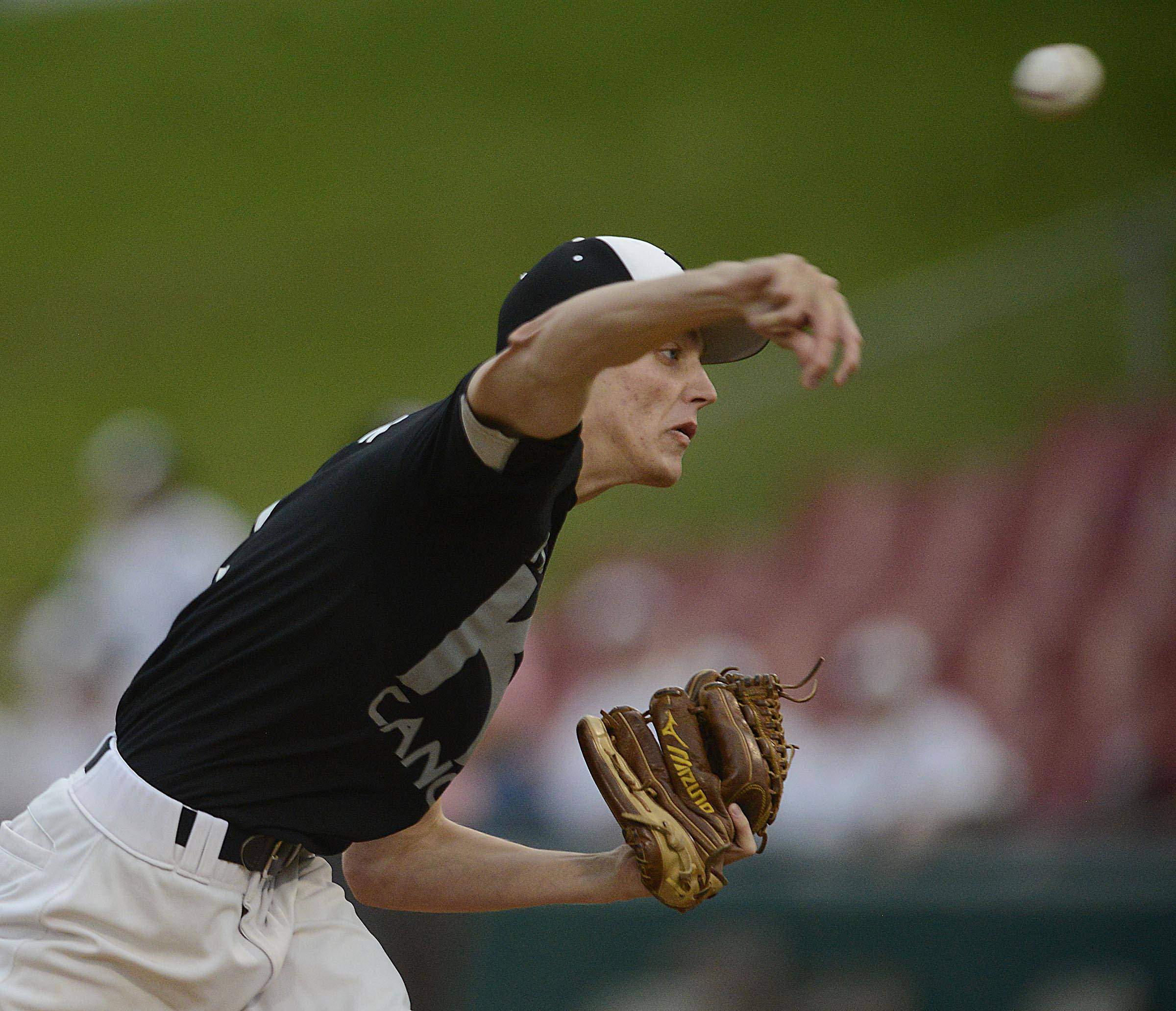 Kaneland's Curtis Thorson throws against Batavia Monday at Fifth Third Ballpark in Geneva.