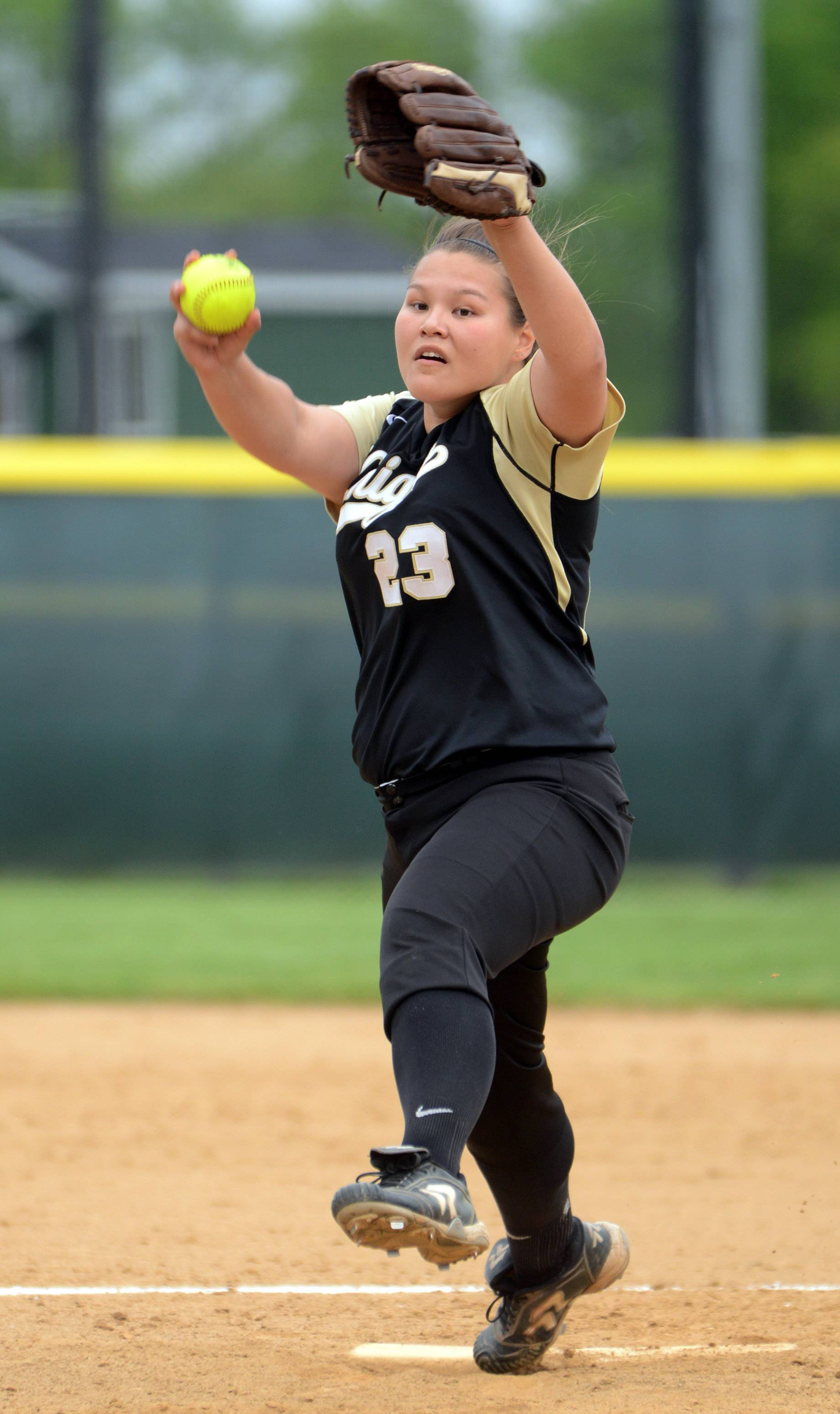 Grayslake North pitcher Sarah Littleton gets ready to fire on a Grayslake Central batter Monday.